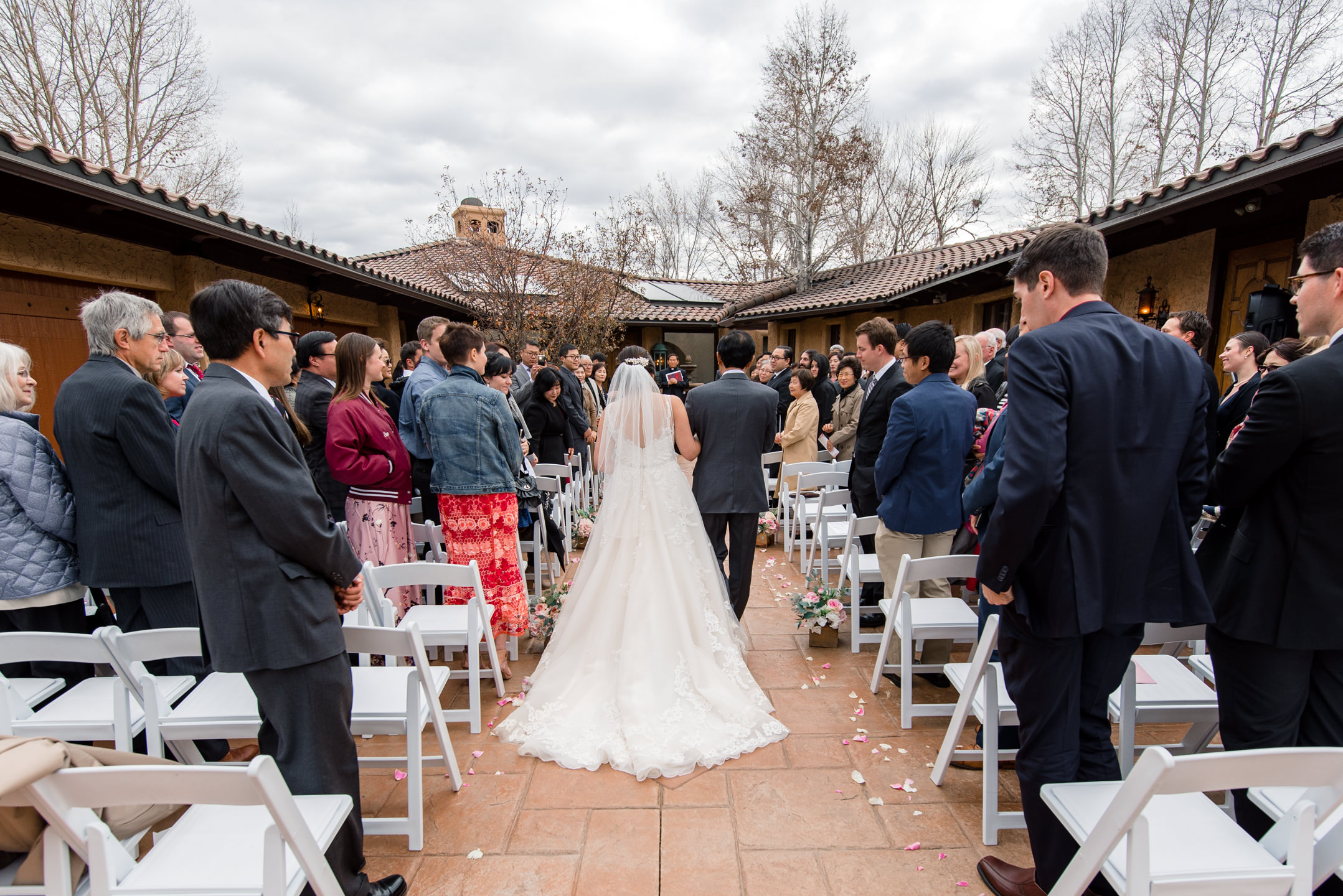 Asian Bride and Father Walk Down Aisle at Villa Parker