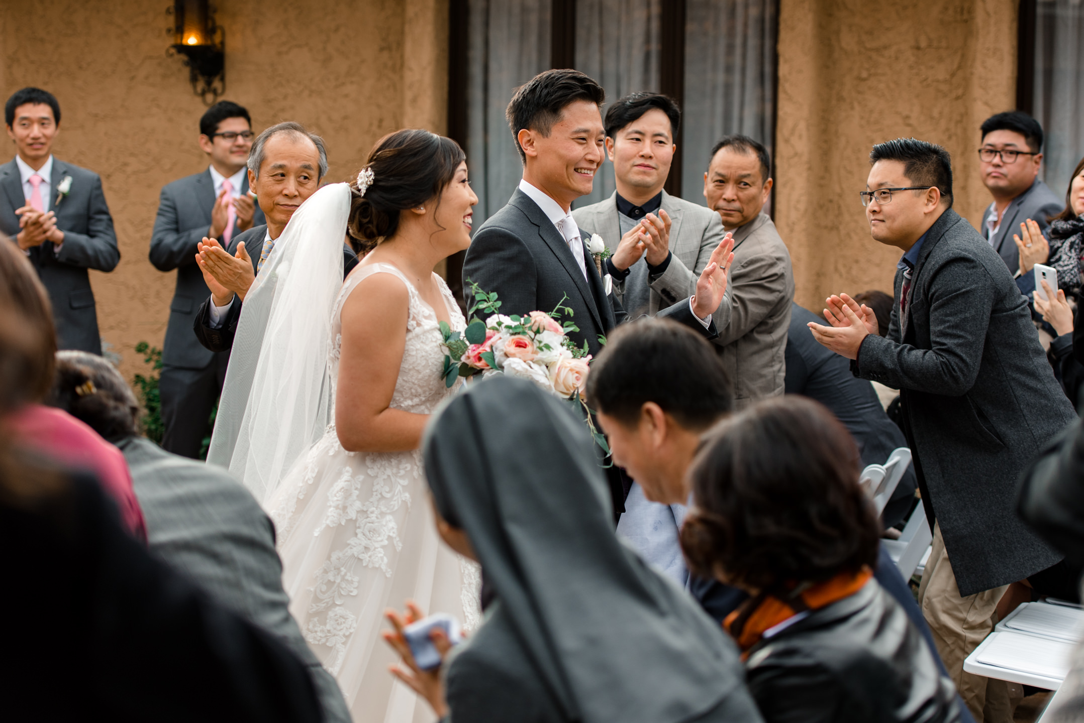 Asian Bride Groom Walk Down Aisle at Villa Parker