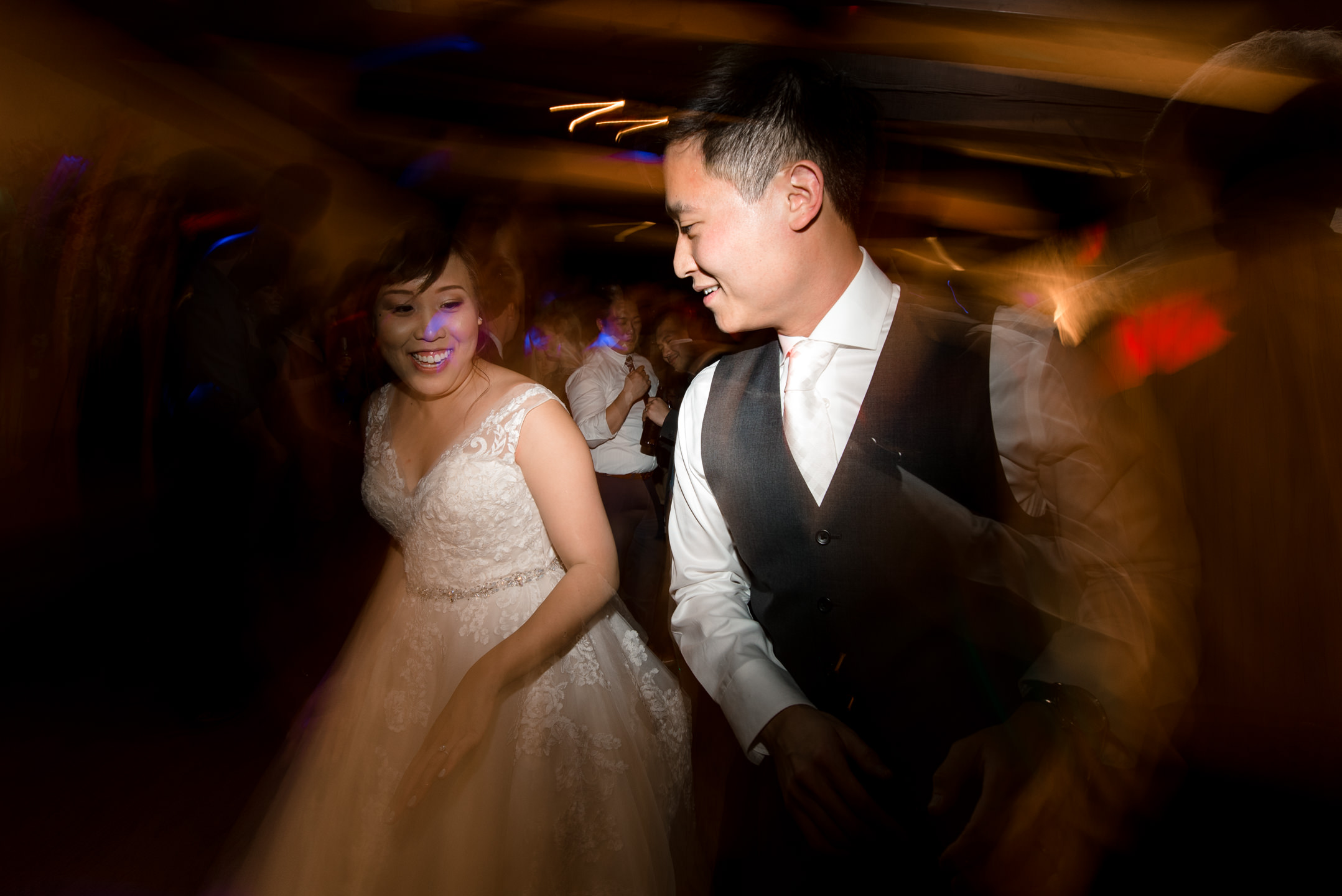 Asian Bride Groom Dancing during Wedding Reception at Villa Park