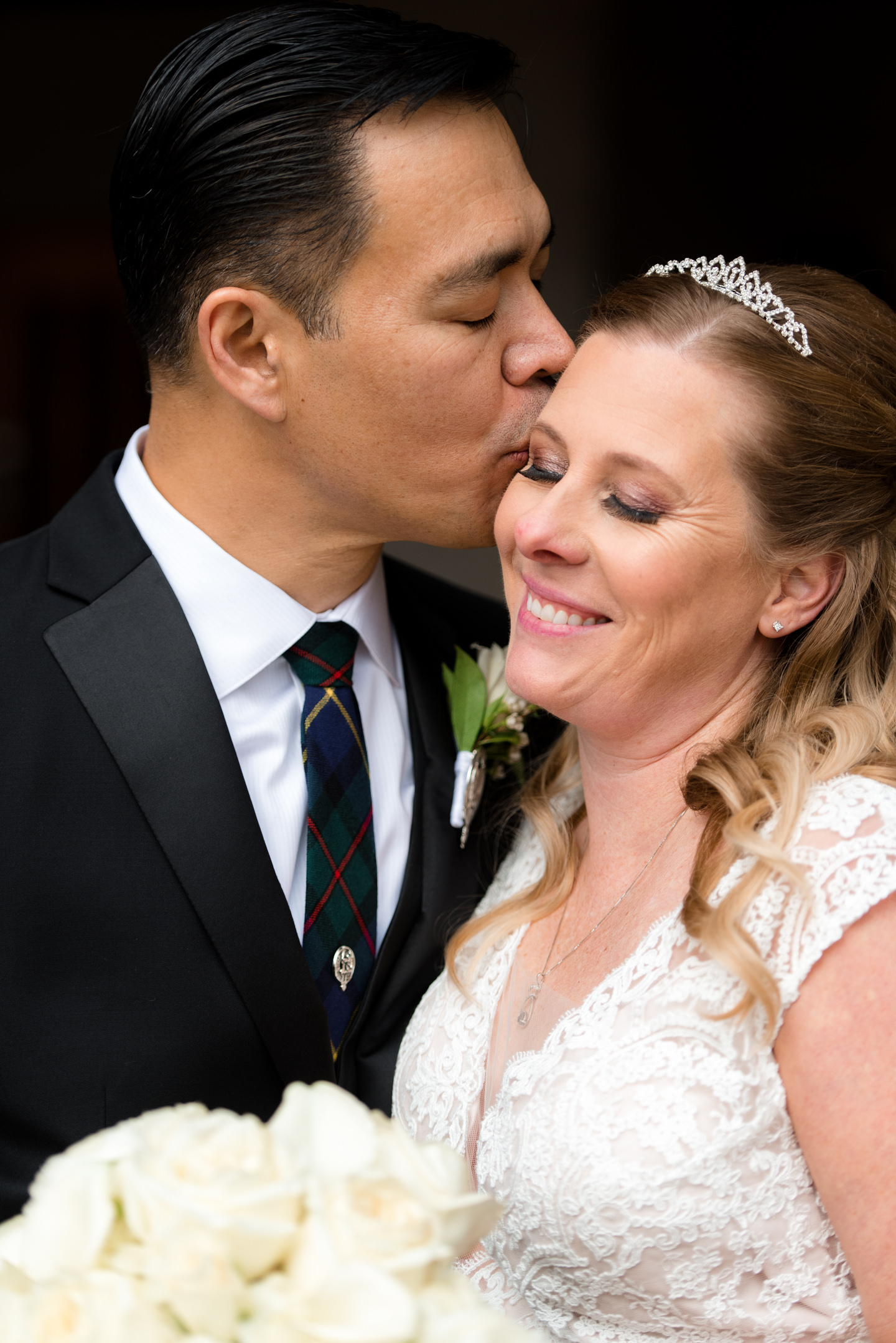 Bride and Asian Groom Wedding Portrait