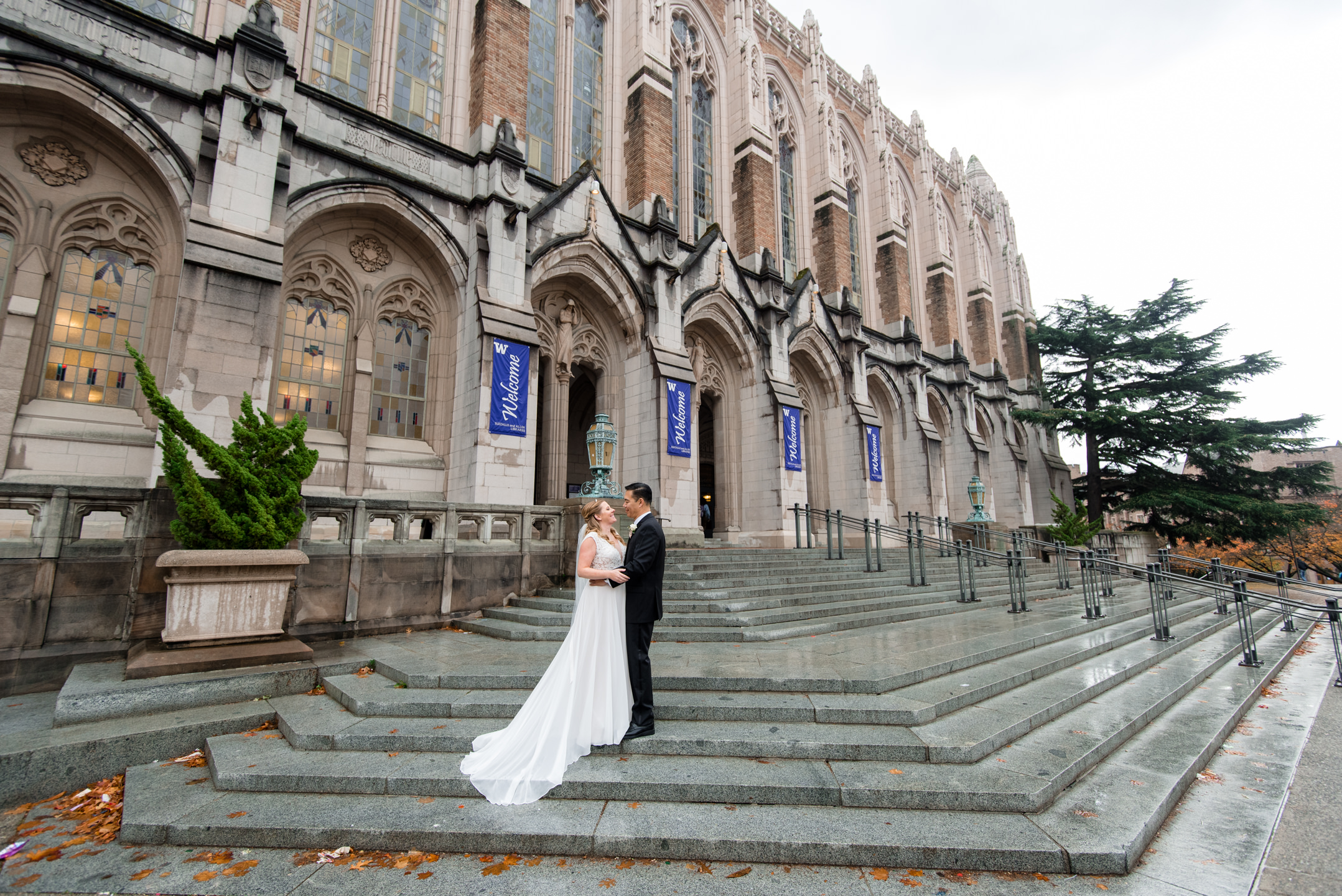 Bride and Asian Groom Wedding Portrait at the University of Wash