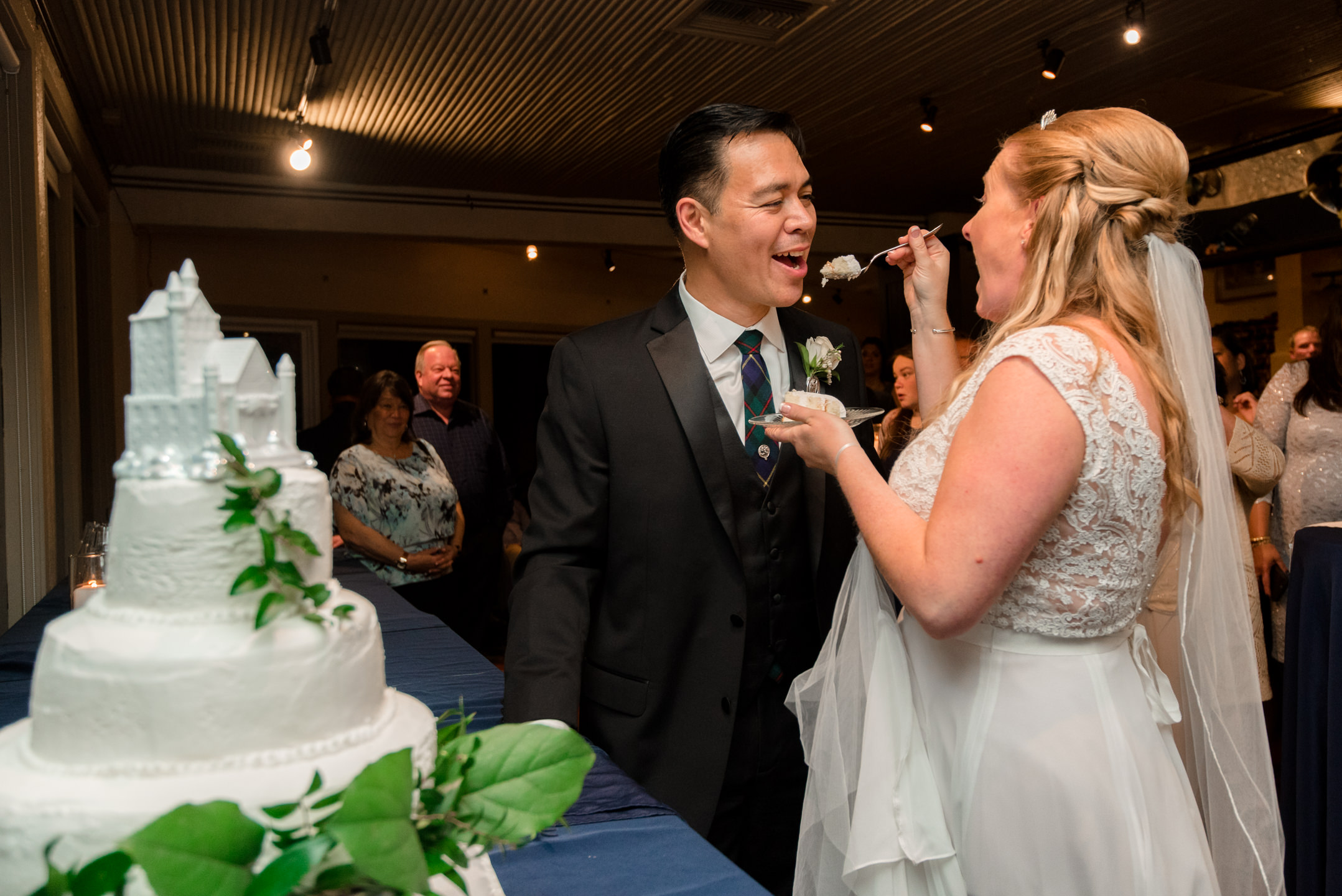 Bride and Asian Groom Cake Cutting