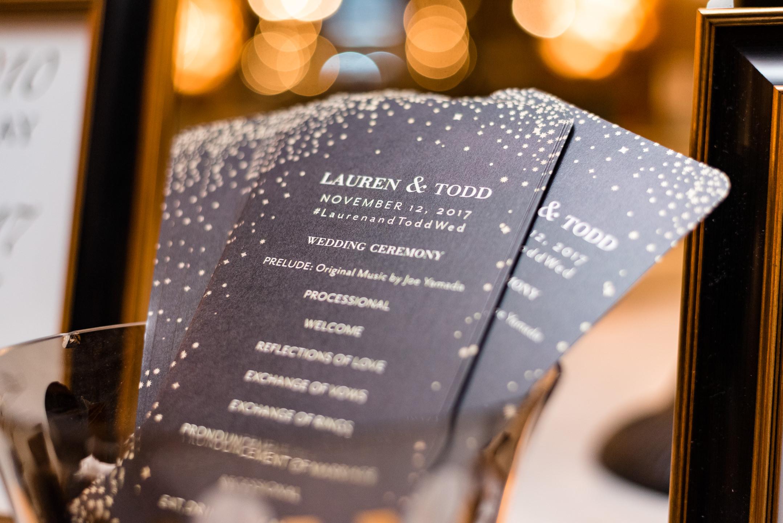 Wedding Program at Lake Union Cafe