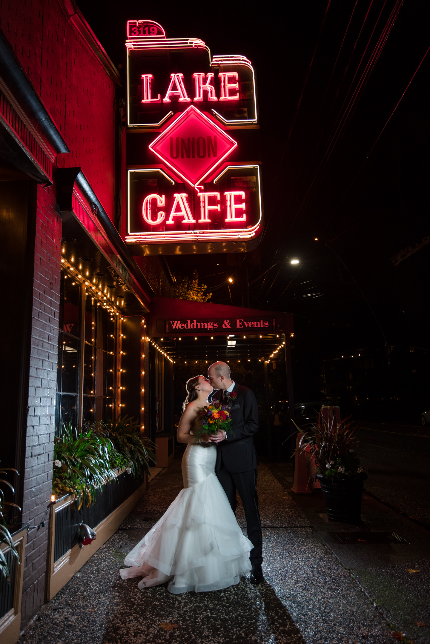 Bride and Groom Portrait at Lake Union Cafe