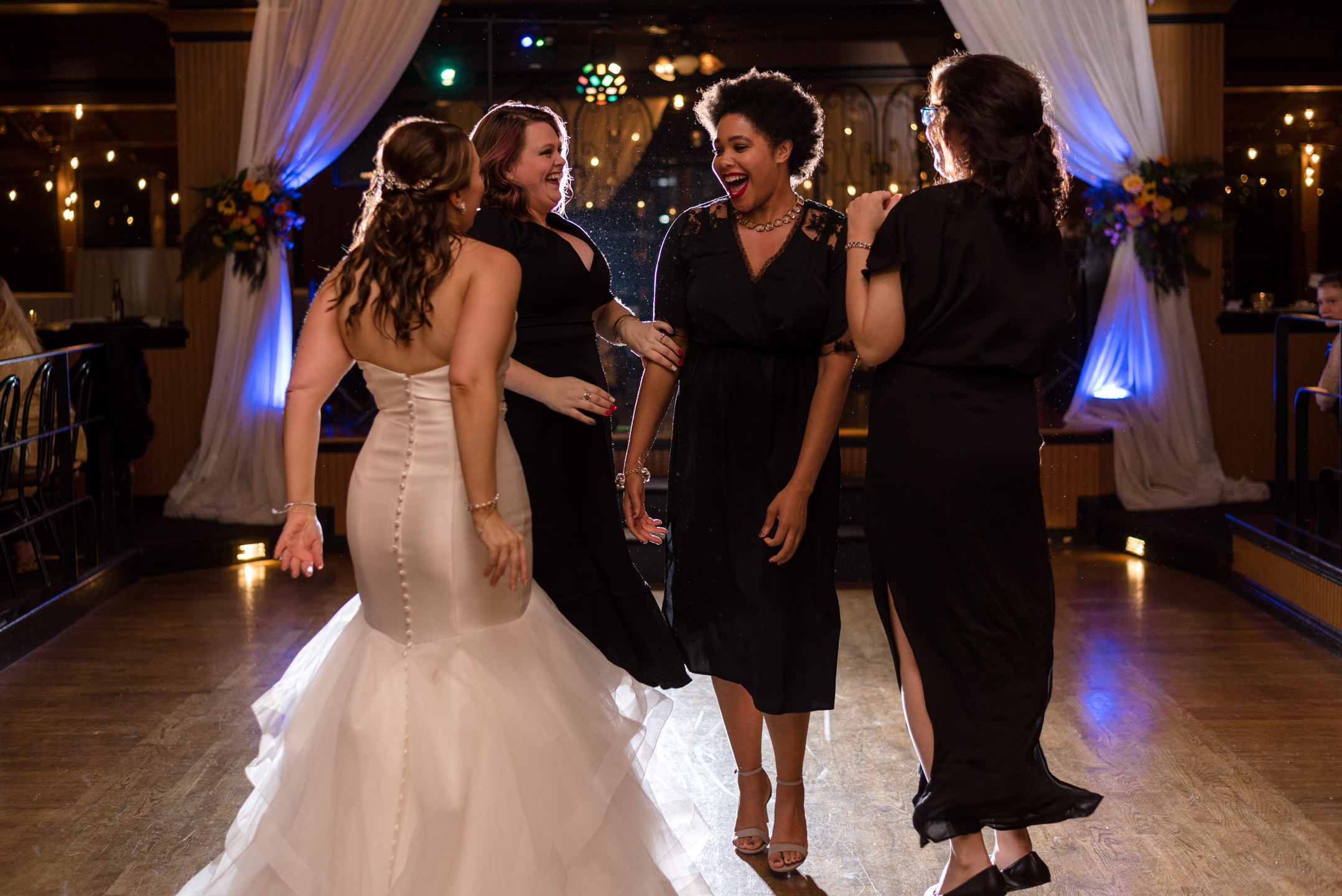 Bride and Friends Fun Dance at Lake Union Cafe