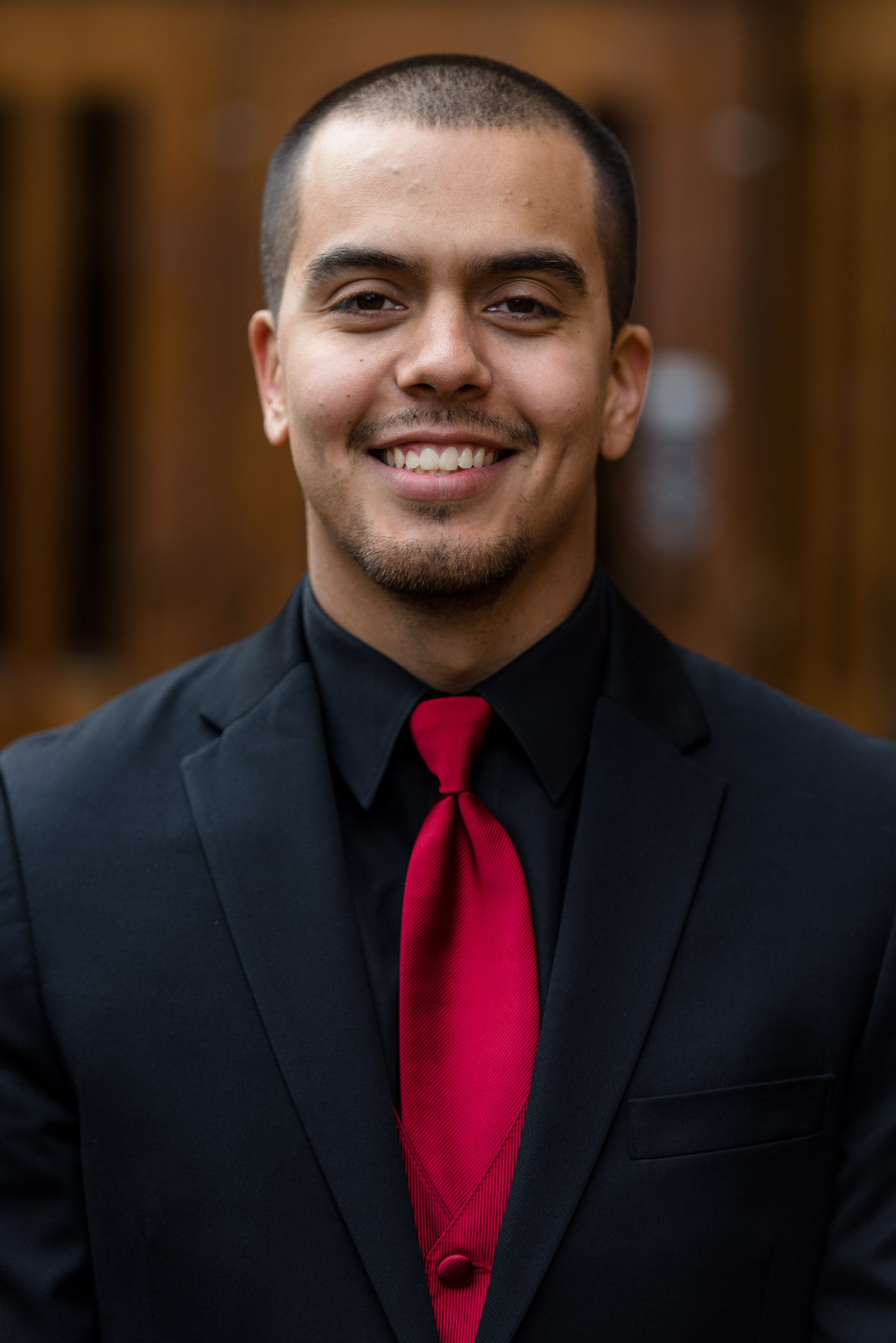 Mexican Groom First Look Portrait at University of Washington