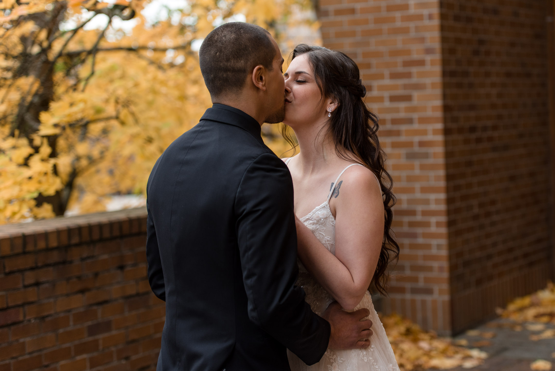 Kayli & Sergio First Look Kiss by Andrew Tat, Seattle Documentary Wedding Photography