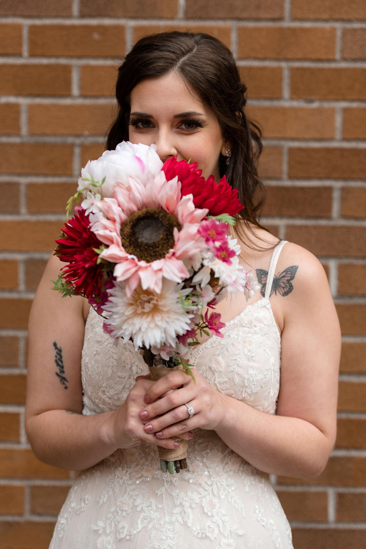 Bride Flowers Portrait at University of Washington
