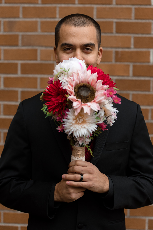 Mexican Groom Flowers Portrait at University of Washington