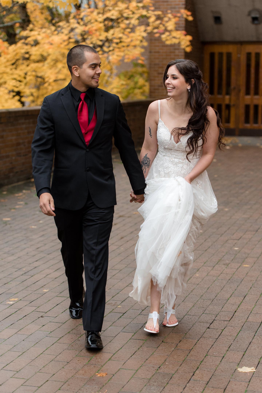 Bride and Mexican Groom Wedding Walk at University of Washington