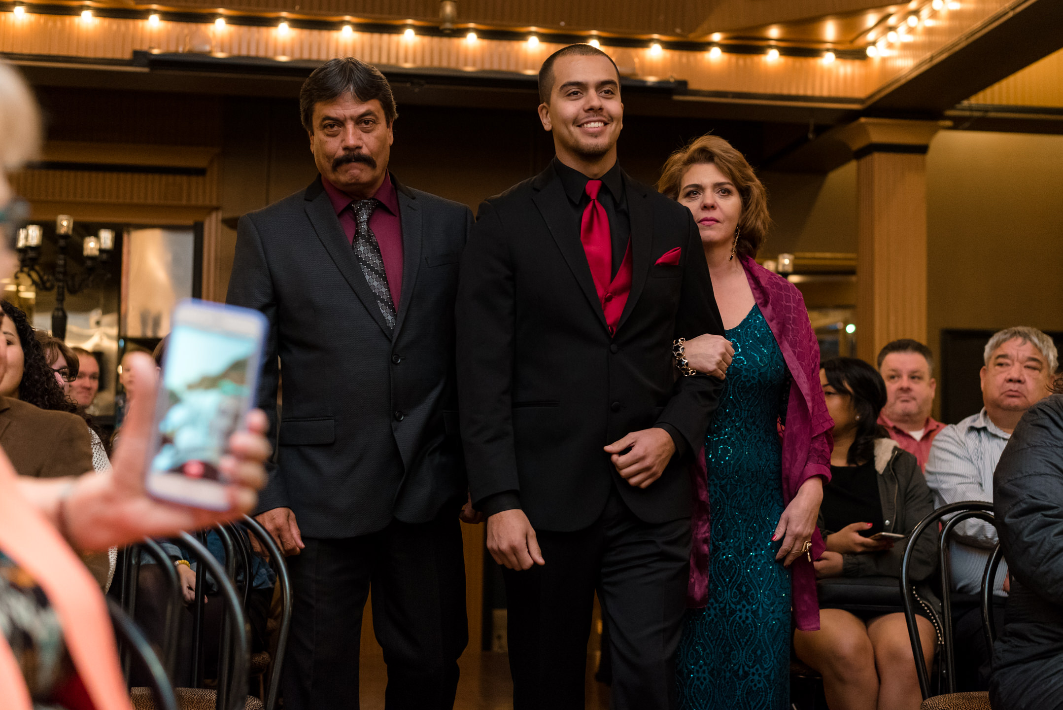 Mexican Groom and Parents Wedding Ceremony Walk