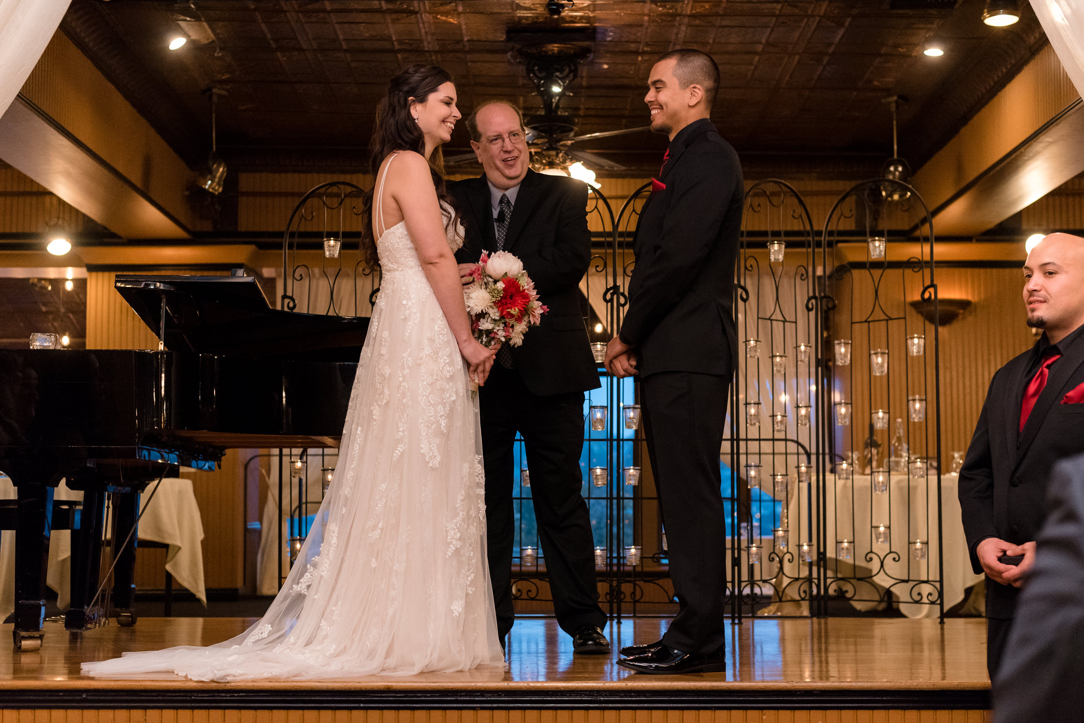 Bride and Mexican Groom Wedding Ceremony at Lake Union Cafe
