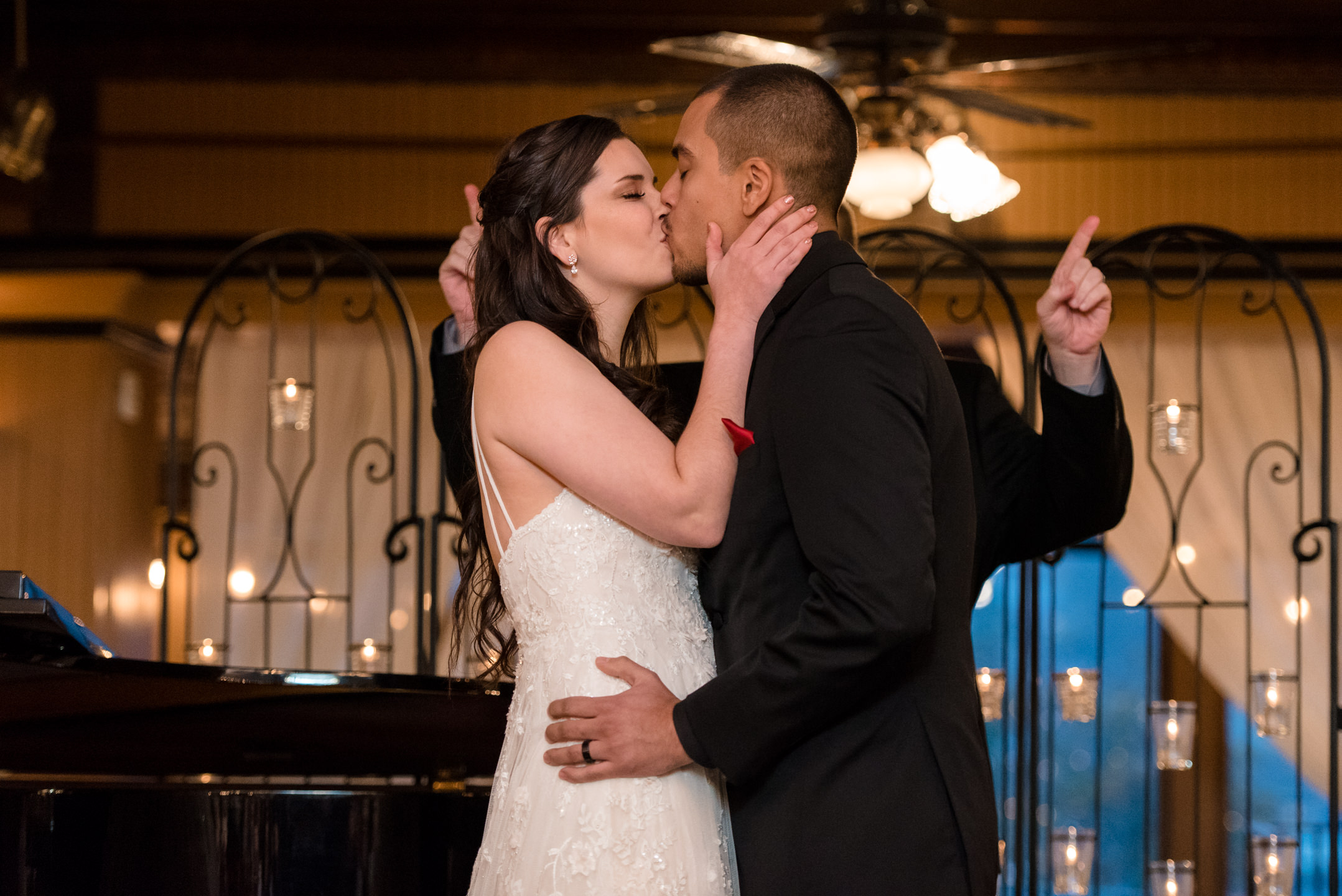 Bride and Mexican Groom First Kiss