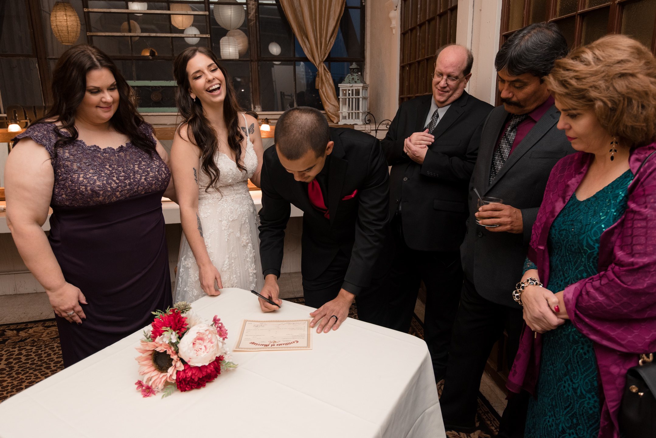Bride and Mexican Groom Wedding Certificate at Lake Union Cafe