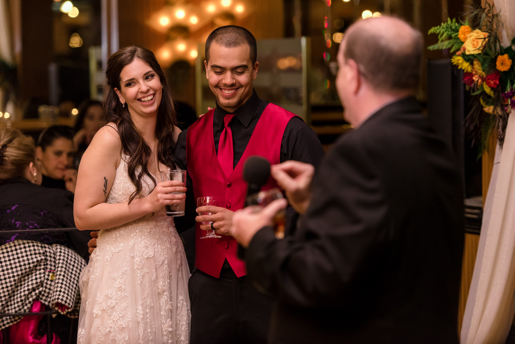 Bride and Mexican Groom Toast Listening