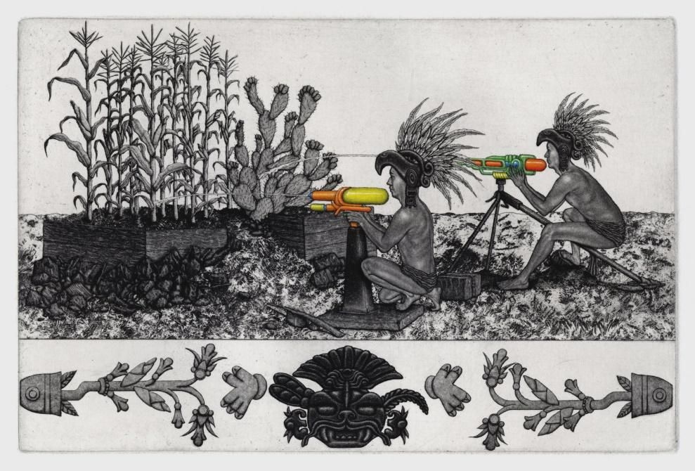 Marco Hernandez.  Regando el Maiz y el Nopal , 2016. Etching and watercolor. Sheet: 6 x 9 inches. Printed and published by the artist. Edition: 20