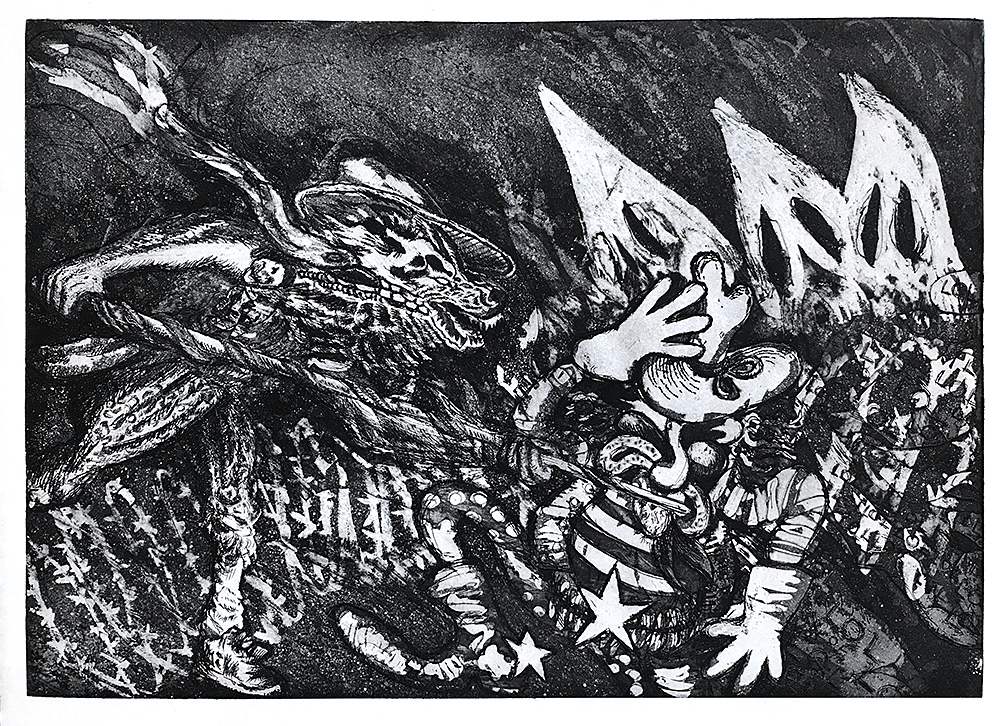 Open Borders , 2016.   Etching with aquatint. Sheet: 12 x 16 1/2 inches Printed and published by the artist. Edition: 10. (c) Ernesto Ortiz Leyva