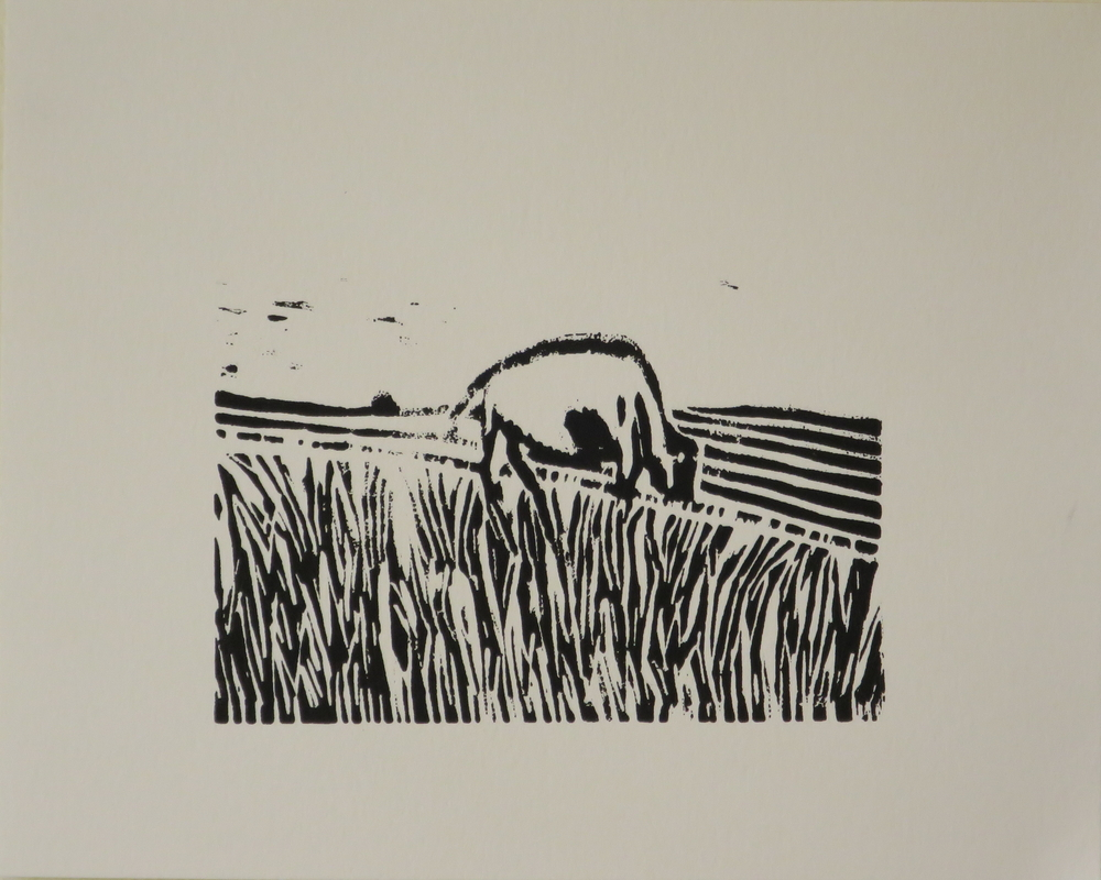 Feeding, 2017 . Linoleum cut. Sheet: 8 x 10 inches. Printed and published by the artist. Edition: 20. (c) Alejandro Waskavich.