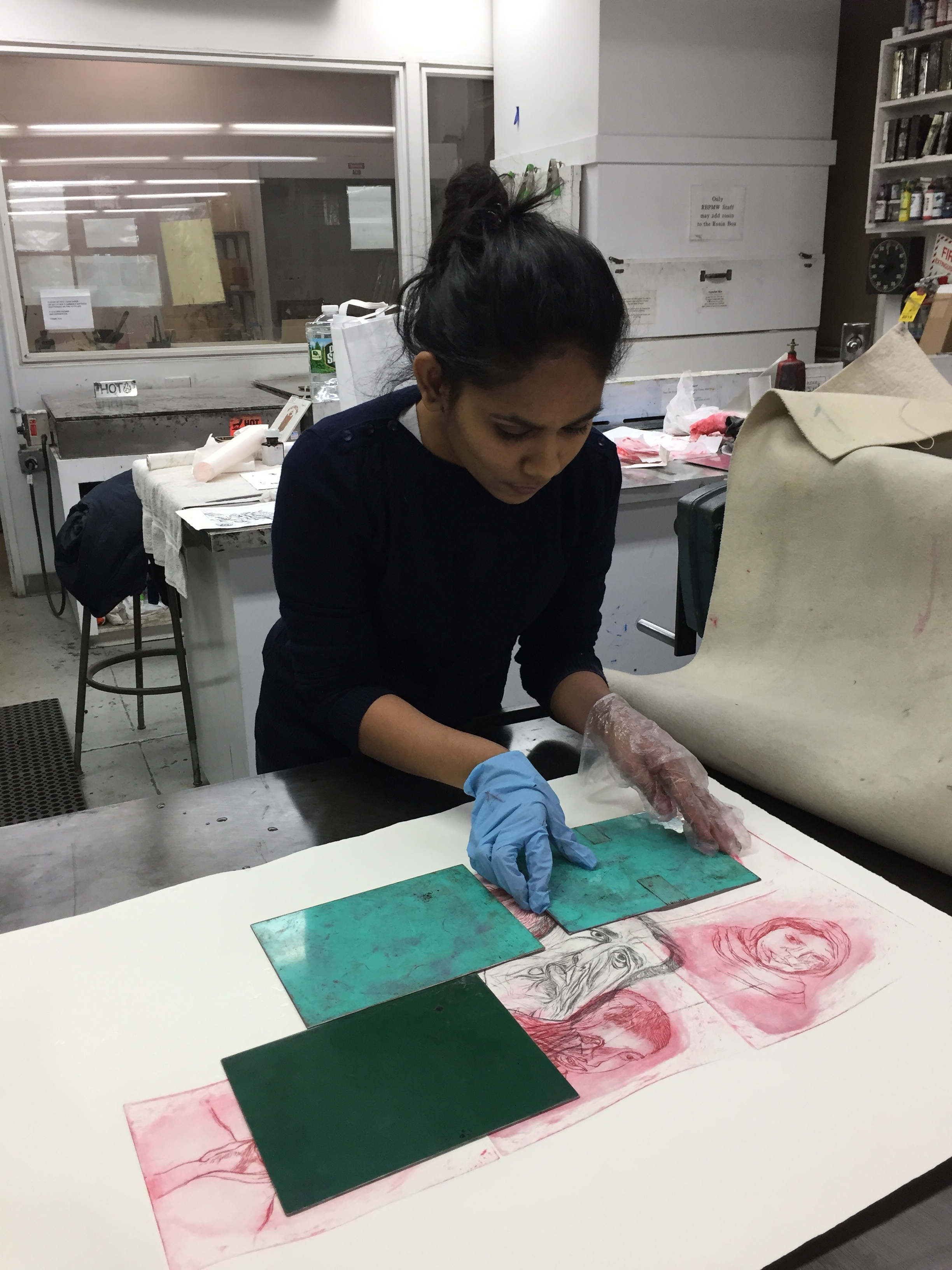 Shivangi at EFA Robert Blackburn Printmaking Workshop