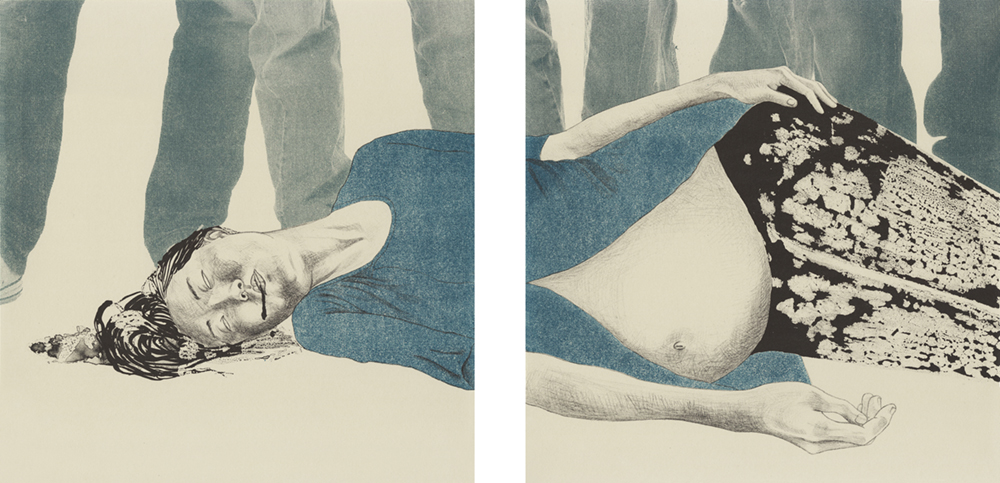 Danqi Cai. Murder; Suicide (Grey) from the series Your Body Is but a Vessel, 2017. Lithograph diptych. Each: 14 x 14 inches each. Printed and published by the artist. Edition: 10