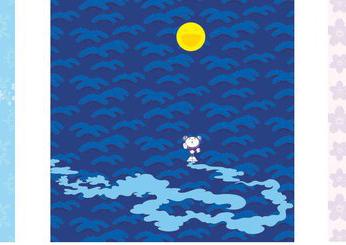 Detail of  Snow/Moon/Flower  by Takashi Murakami, 2002