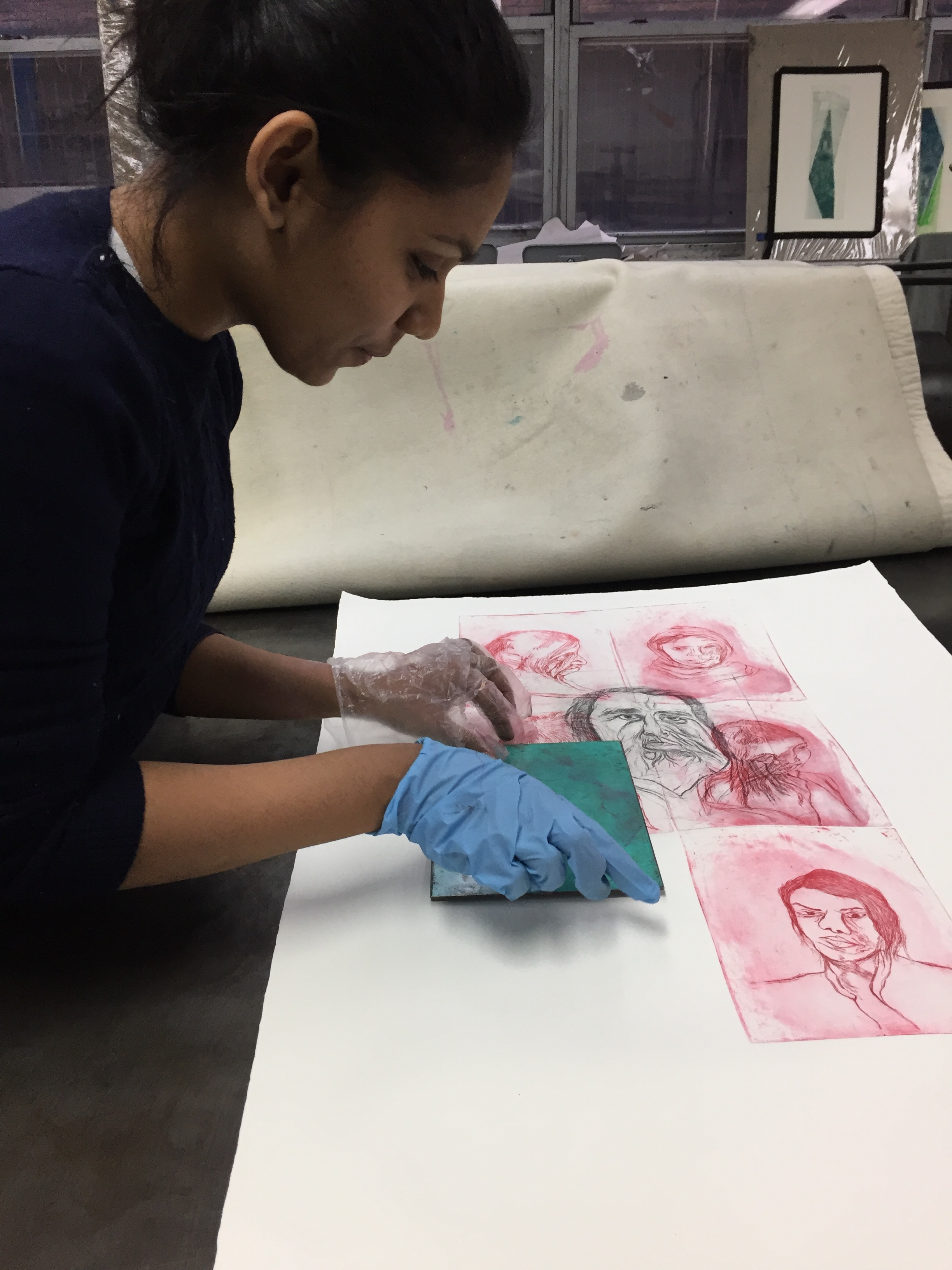 Shivangi Ladha printing at Robert Blackburn Printmaking Workshop during her IPCNY residency.
