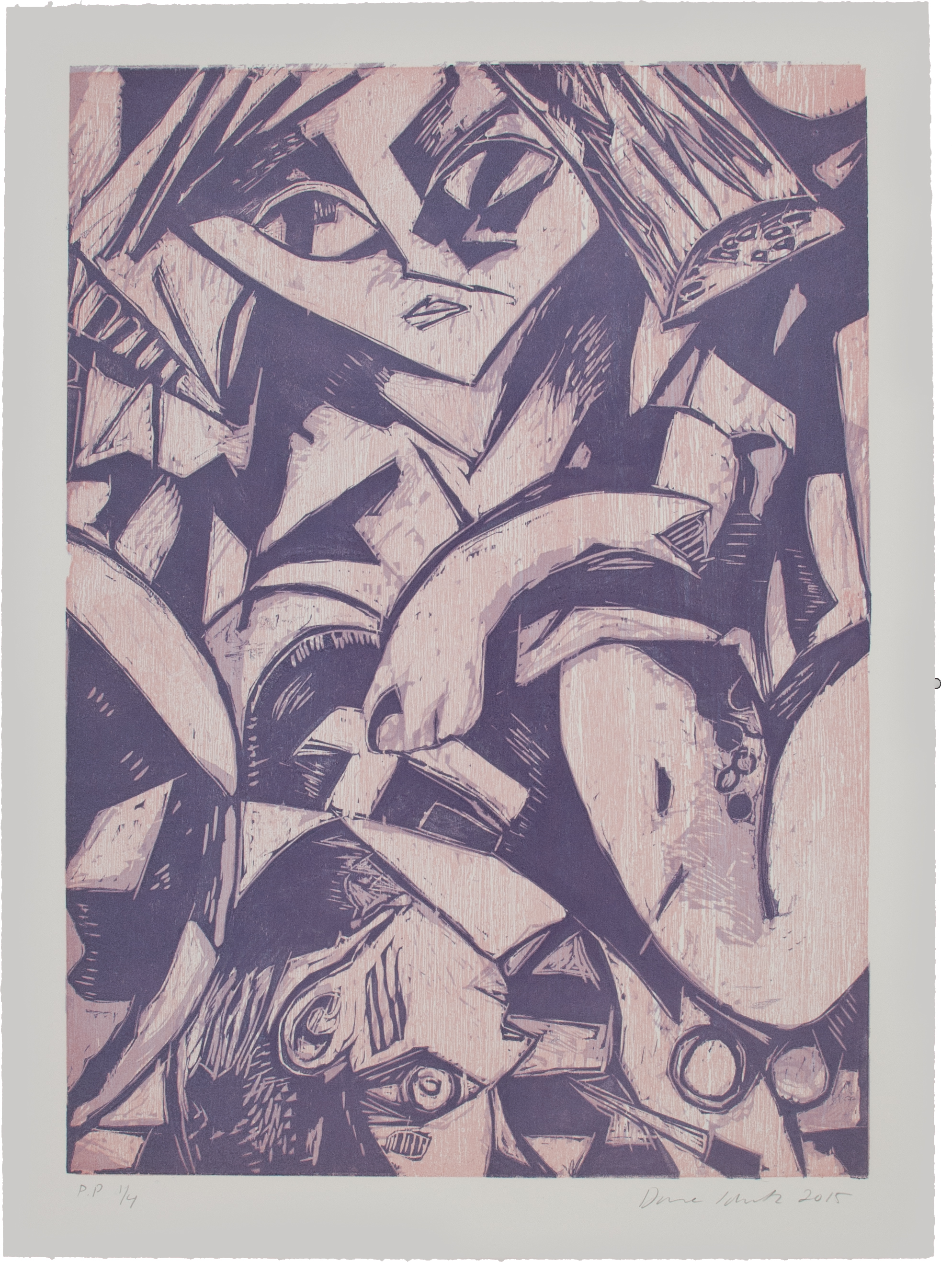 Dana Schutz.   Back Surgery In Bed,  2015. Woodcut. Sheet: 28 1/4 x 20 3/4 inches. Printed by Rob Swainston, Prints of Darkness; published by Kestnergesellschaft, Hannover, Germany. Edition: 50. Courtesy Rob Swainston and Prints of Darkness. © 2019 Dana Schutz