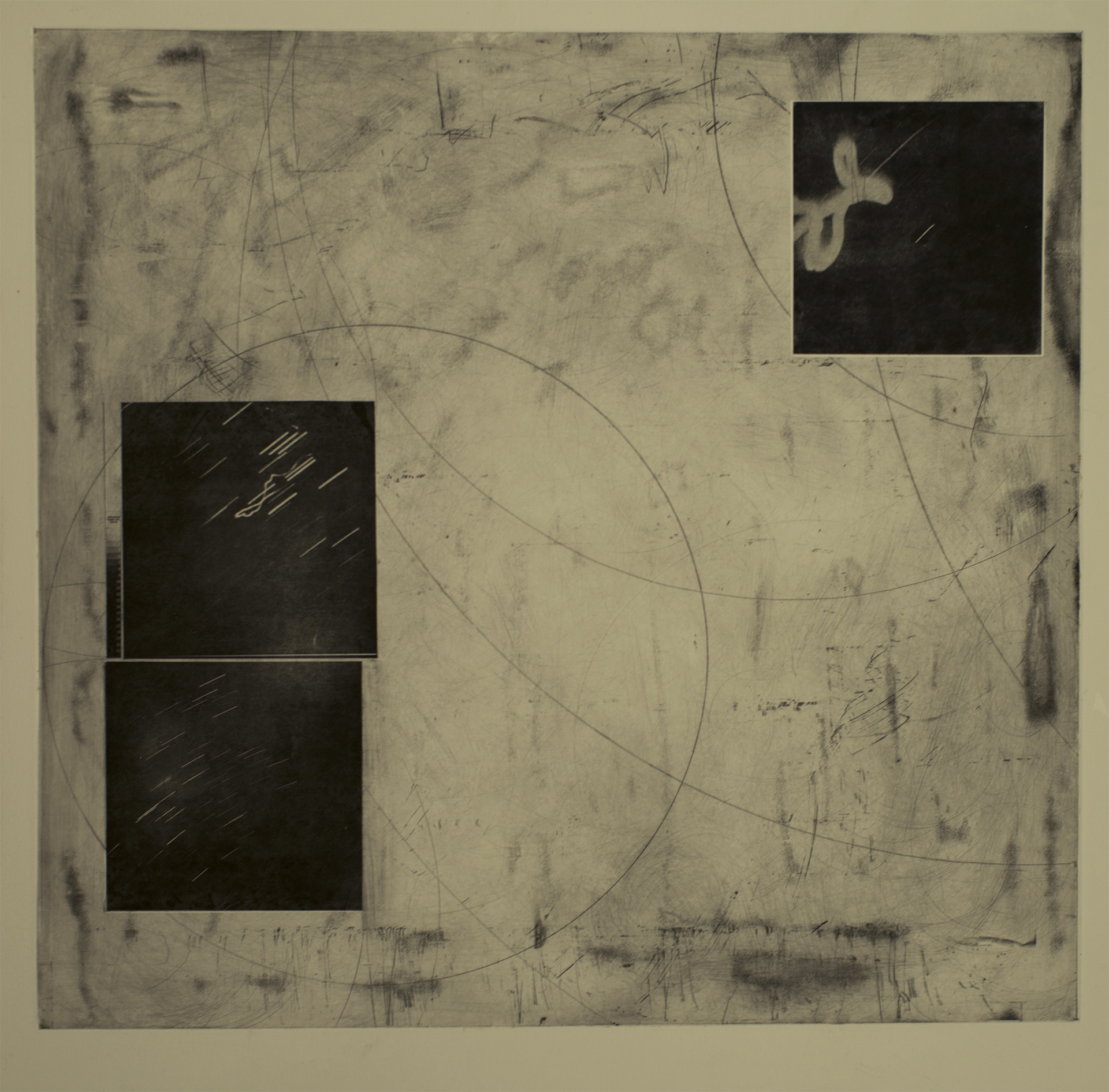 Miguel G. Counahan   Cabo Polonio (Polonium Cape) ,   2019 Photogravure, drypoint, etching, and chine-collé Sheet: 39 3/8 x 39 3/8 inches Printed by artist; published by Zopilote Inc. Edition: 5 Courtesy of the artist