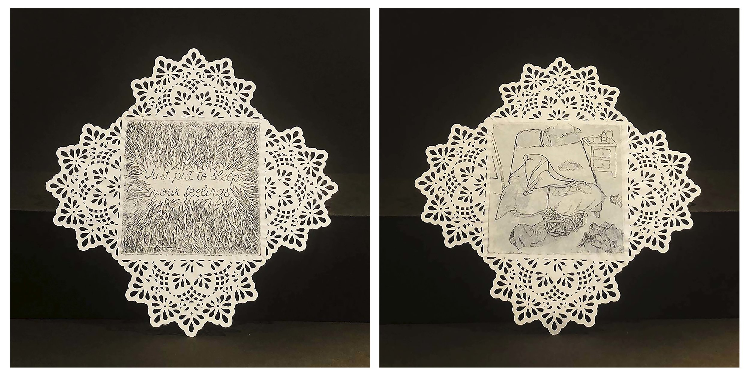 Camila Escobar Vélez   Just Put To Sleep Your Feelings  from the series  Just One Night,  2018 Double sided aquatint, etching, and chine-collé on doily Sheet: 6 x 6 inches Printed and published by the artist  Edition: 5 Courtesy of the artist