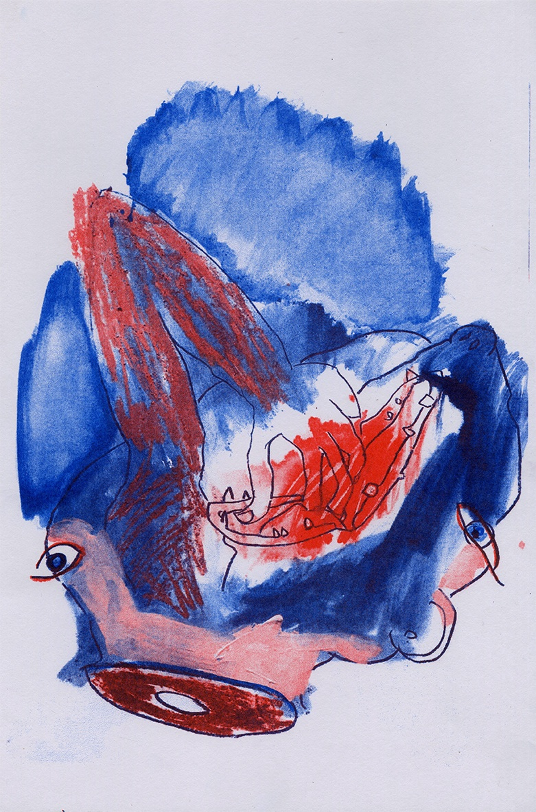 Christine Garvey   Face Eaters ,     2019 Risograph Sheet: 16 x 11 inches Printed and published by the artist Edition: 10 Courtesy of the artist