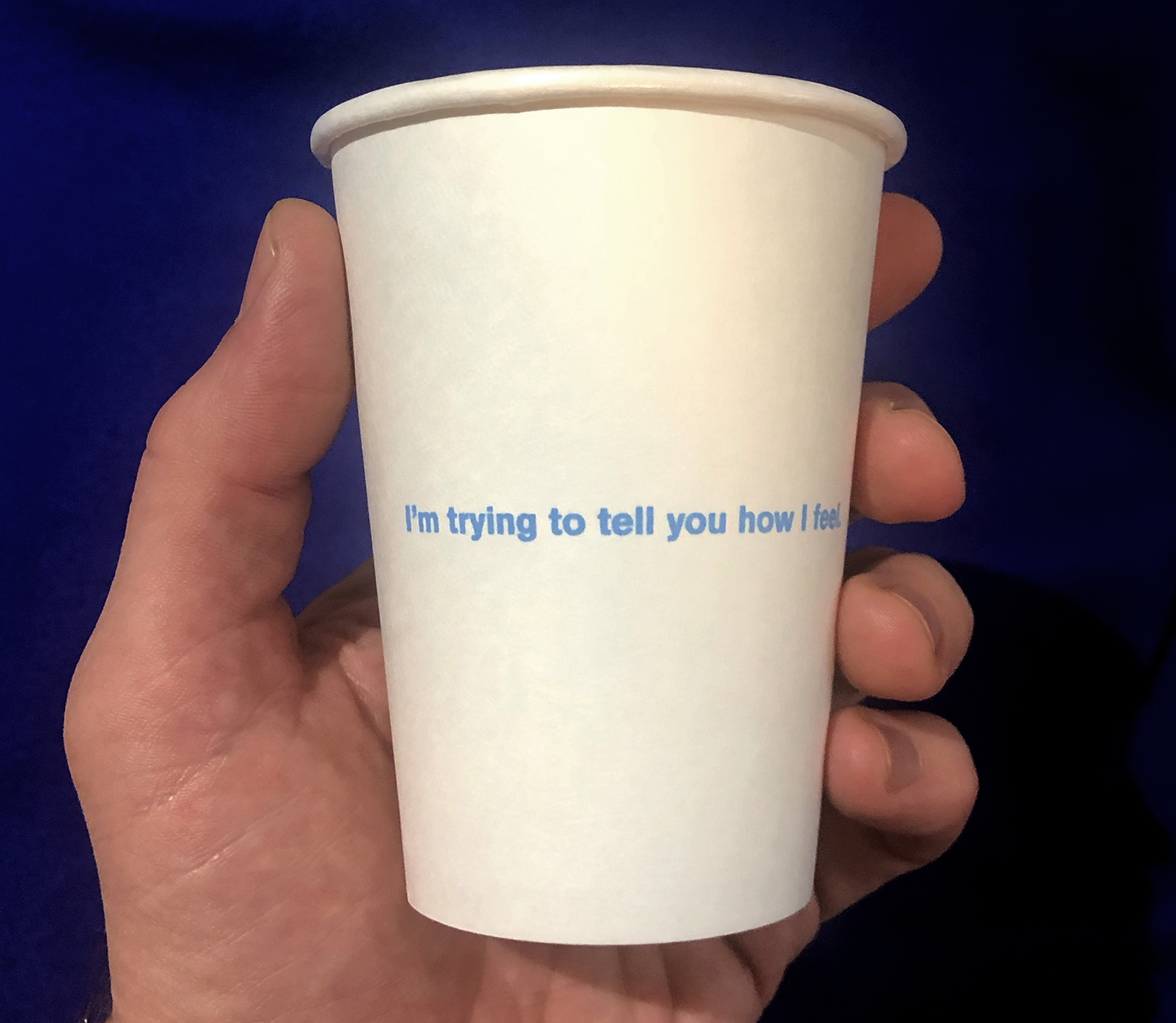 Aaron Krach   Indestructive Artifact #29 (Effort),  2019 Blue ink on paper cups Each cup: 4 x 3 x 3.5 inches Commercially printed; published by the artist Edition: 10 + 1AP (each includes 100 cups) Courtesy of the artist
