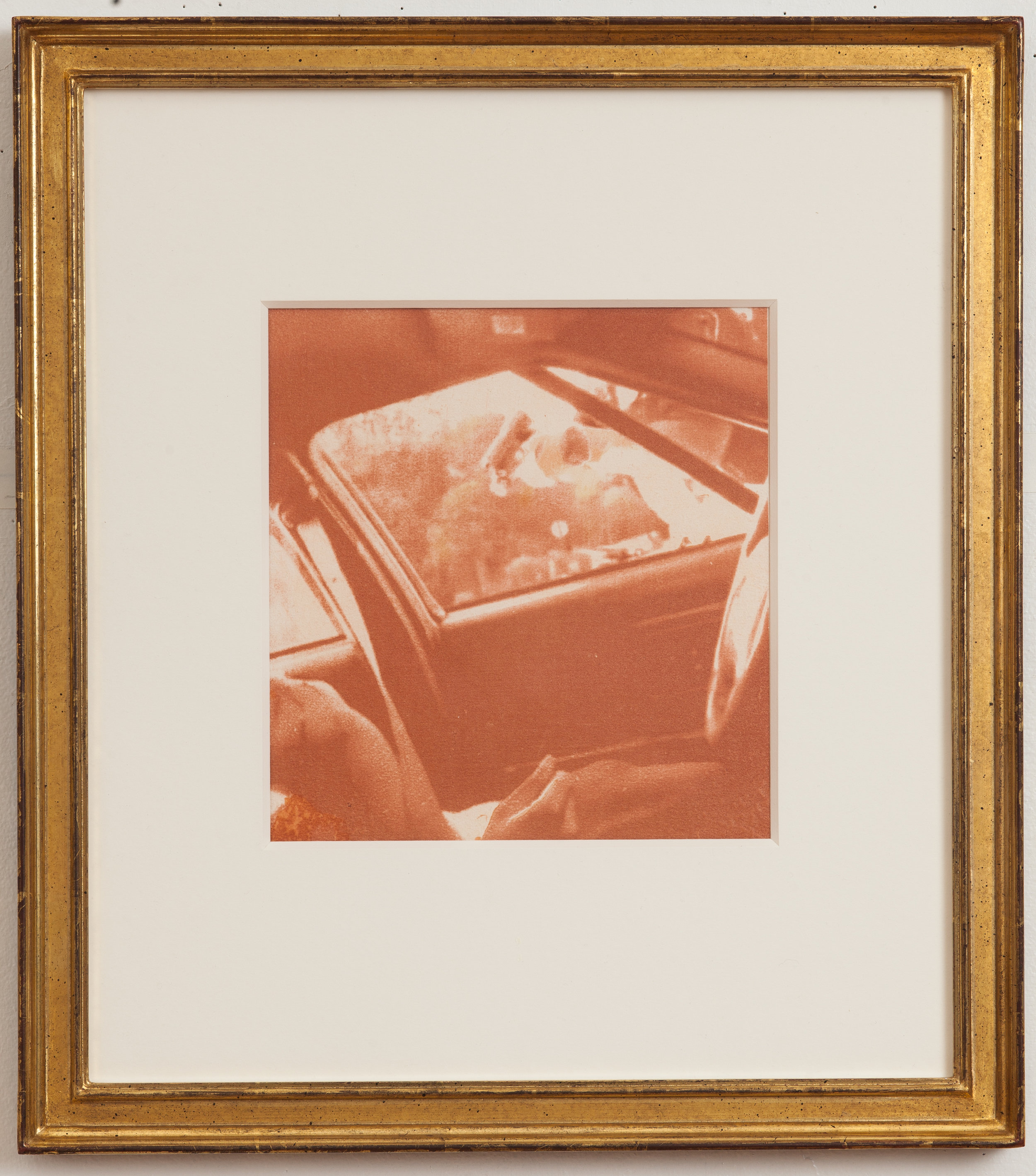 Zorawar Sidhu   Death of Philando Castile  from the series  Ideal Violence,      2019 Sanguine, haematite, earth pigments, and gum bichromate on handmade cotton-linen paper Sheet: 8 1/2 x 8 inches Printed and published by the artist Edition: Unique Courtesy of the artist