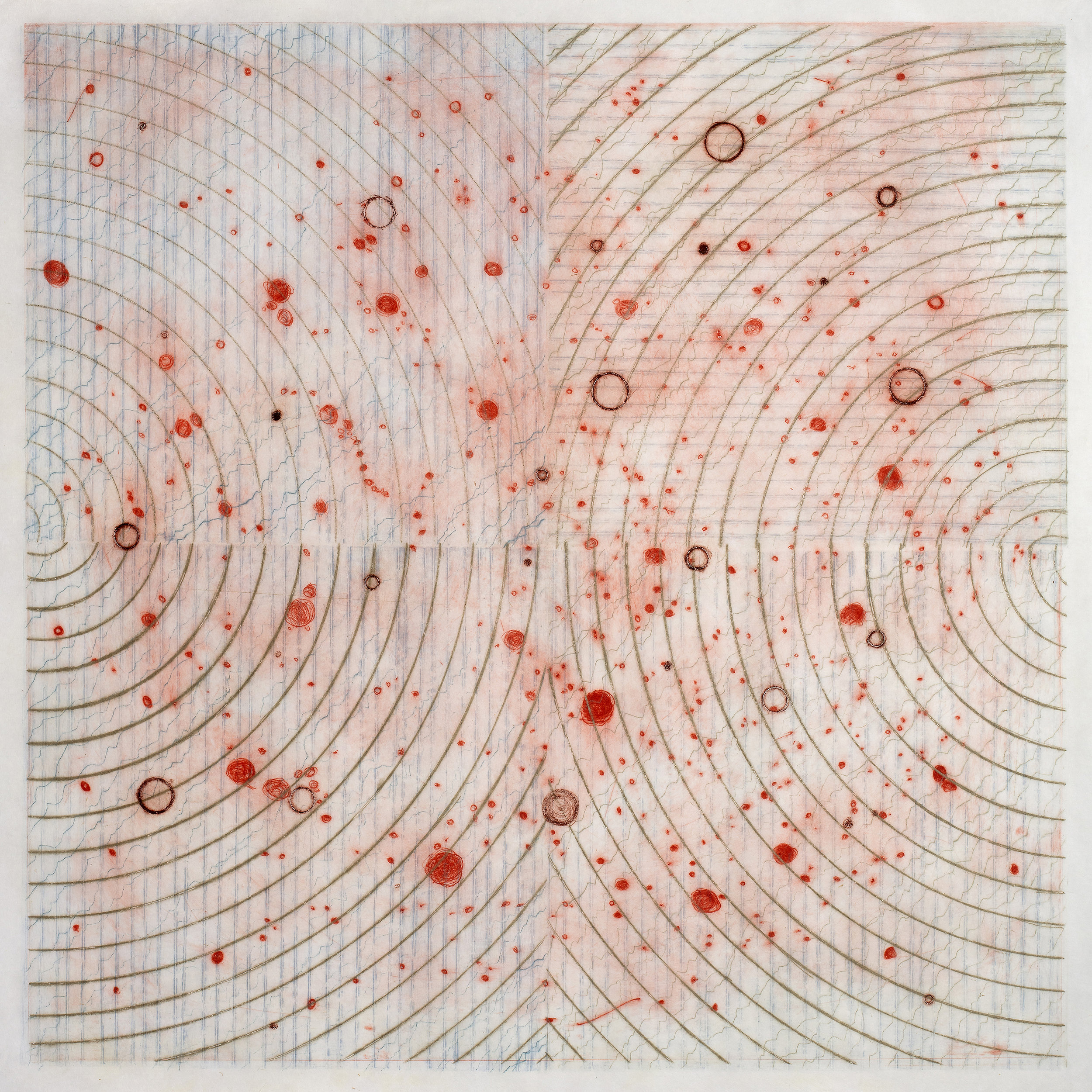 Carolyn Webb   What Was Scattered Gathers, v5  from the series  What Was Scattered Gathers,  2018 Collagraph and drypoint Sheet: 24 1/2 x 24 1/2 inches Printed and published by the artist Edition: X, variable Courtesy of the artist