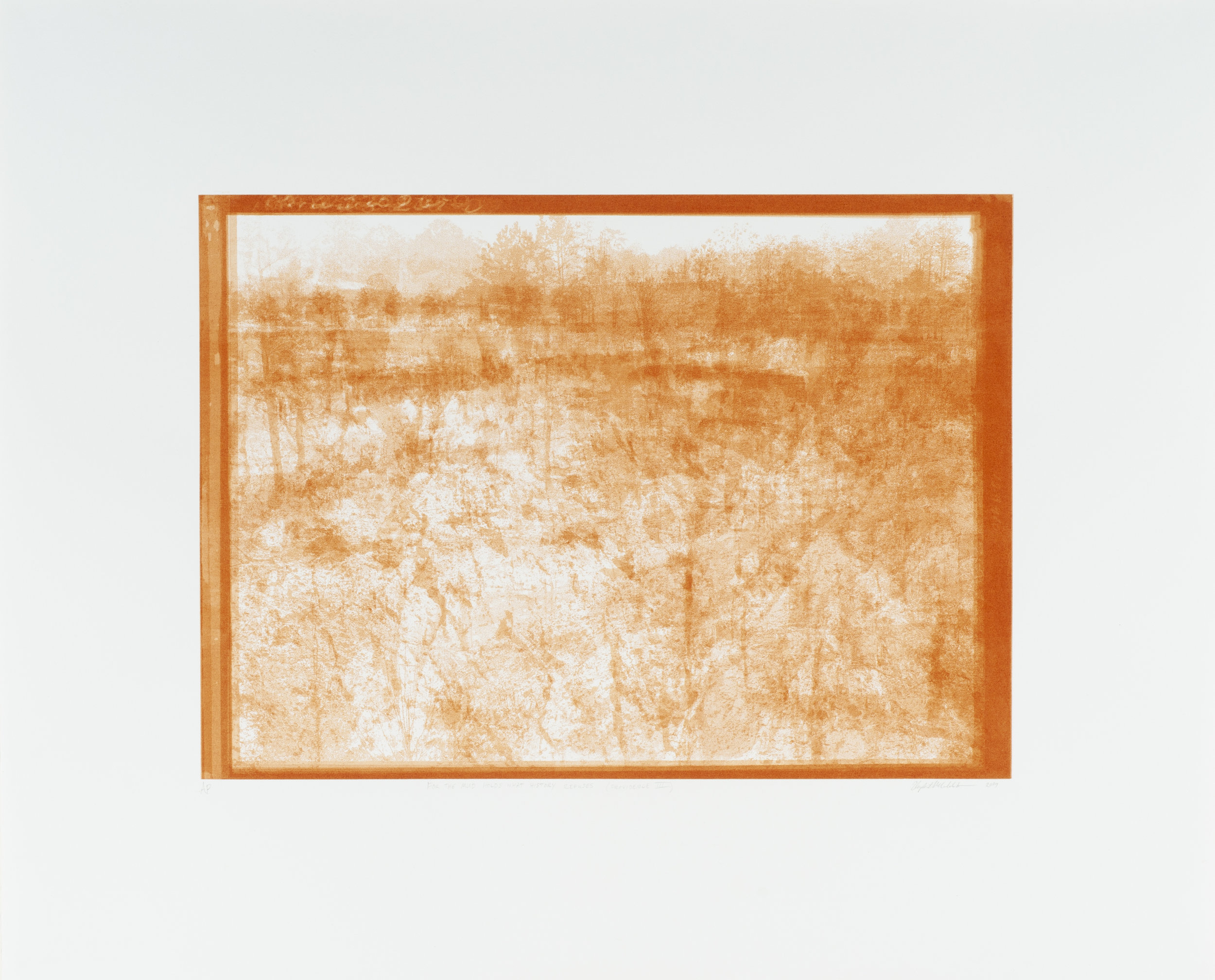 Elizabeth M. Webb   For the Mud Holds What History Refuses (Providence III)  from the series  For the Mud Holds What History Refuses (Providence in Four Parts),  2019 Red clay soil print on cotton paper, 1937 WPA erosion file on Stewart County, Georgia (photographs by Arthur Rothstein) Sheet: 30 1/4 x 37 inches Printed by Alexander Squier and the artist; published by the artist Edition: 8 + 3APs Courtesy of the artist