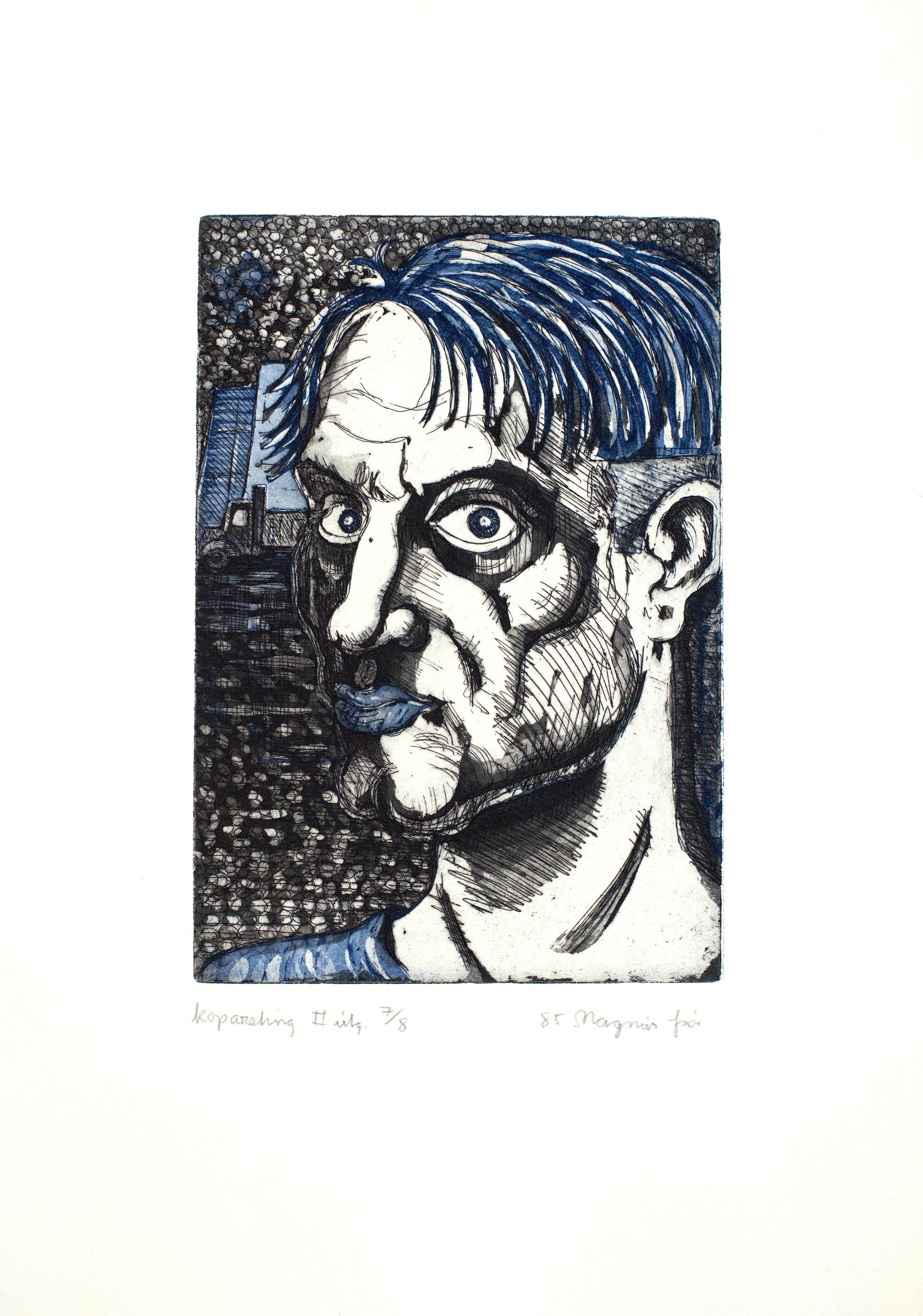Magnús Þór Jónsson (Megas) Self-Portraits (Sjálfsmyndir), 1985 Series of 16 etchings Sheet: 14 7/8 x 11 in. (37.8 x 27.9 cm) Printed by Ingibjörg Jóhannsdóttir; published by the artist. Edition: 8 (2nd edition) (c)Magnús Þór Jónsson