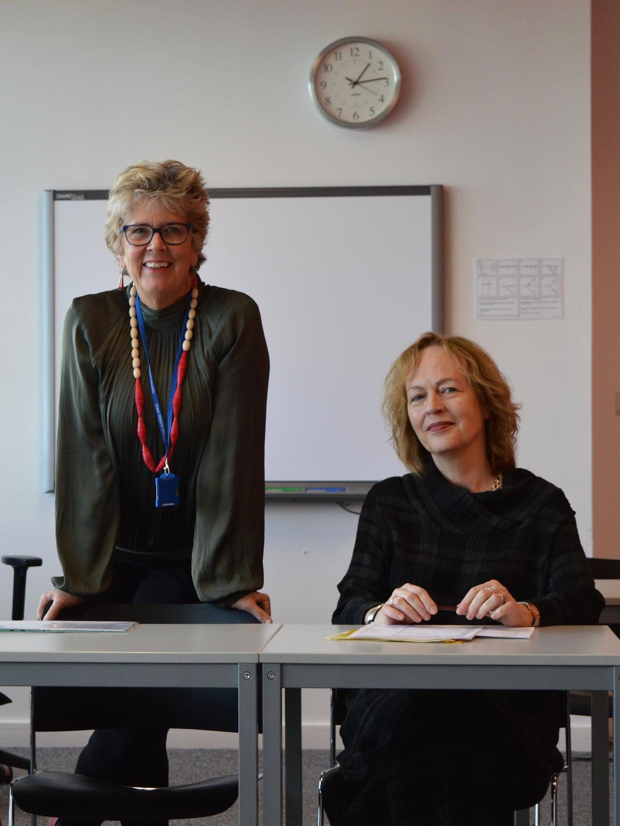 Prue Leith with Queen Margaret University's Principal,  Professor Petra Wend