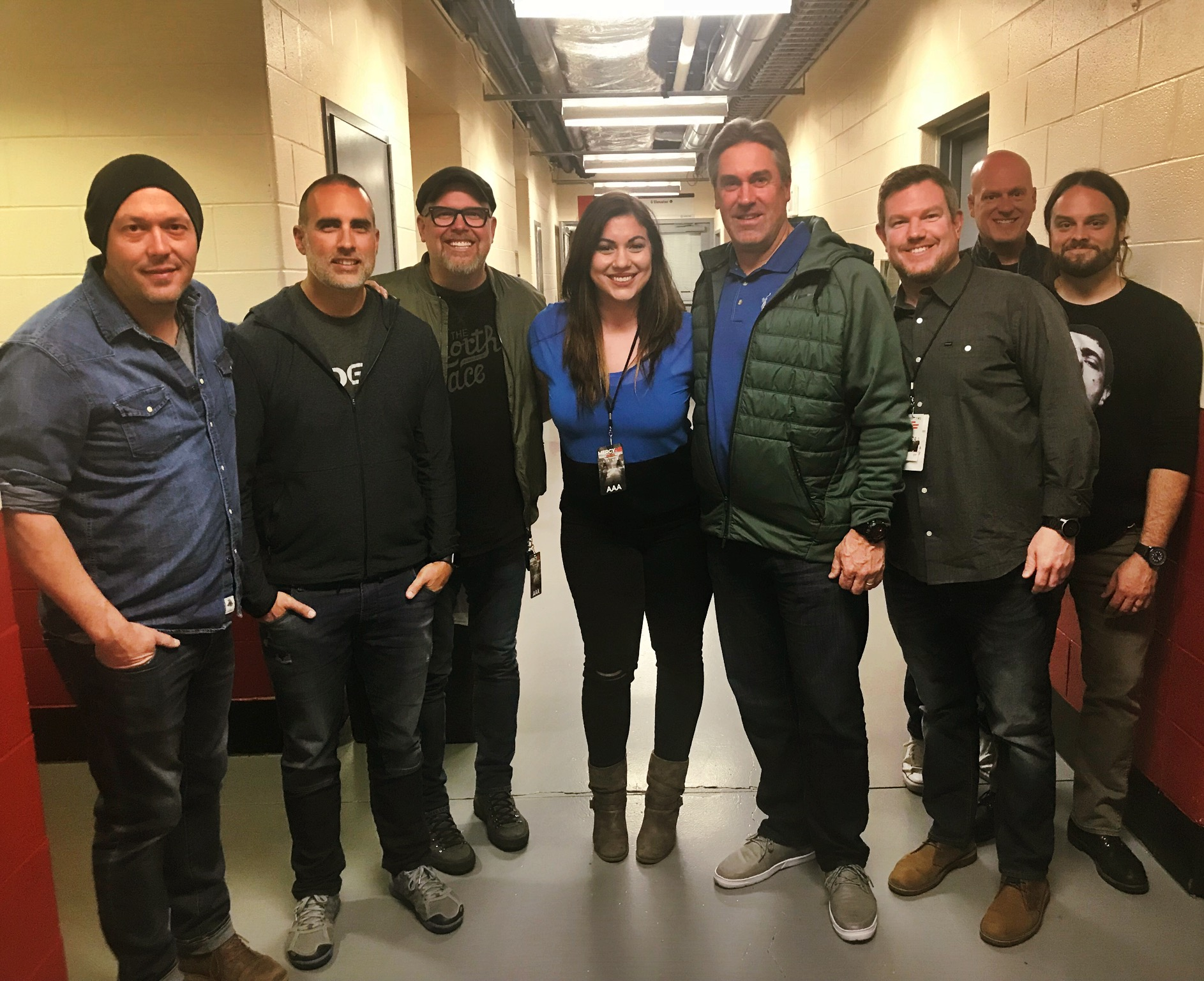 From left to right: Mike Scheuchzer (MercyMe), Robby Shaffer (MercyMe), Bart Millard (MercyMe), Honnah Bakhtiary (191 Touring) , Doug Pederson (Philadelphia Eagles Coach), Joe Sheridan (Liacouras Center GM), Barry Graul (MercyMe) & Nathan Cochran (MercyMe)