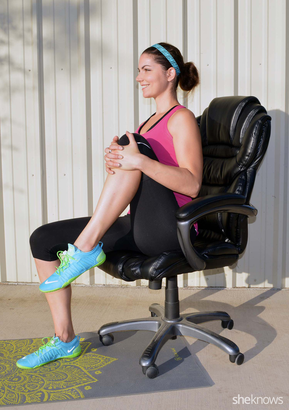 Seated Knee Raise   Raise your left knee to chest and hold for 10 seconds. Place foot back on the ground and continue with the right knee and hold for 10 seconds. Continue for 4 sets each leg.