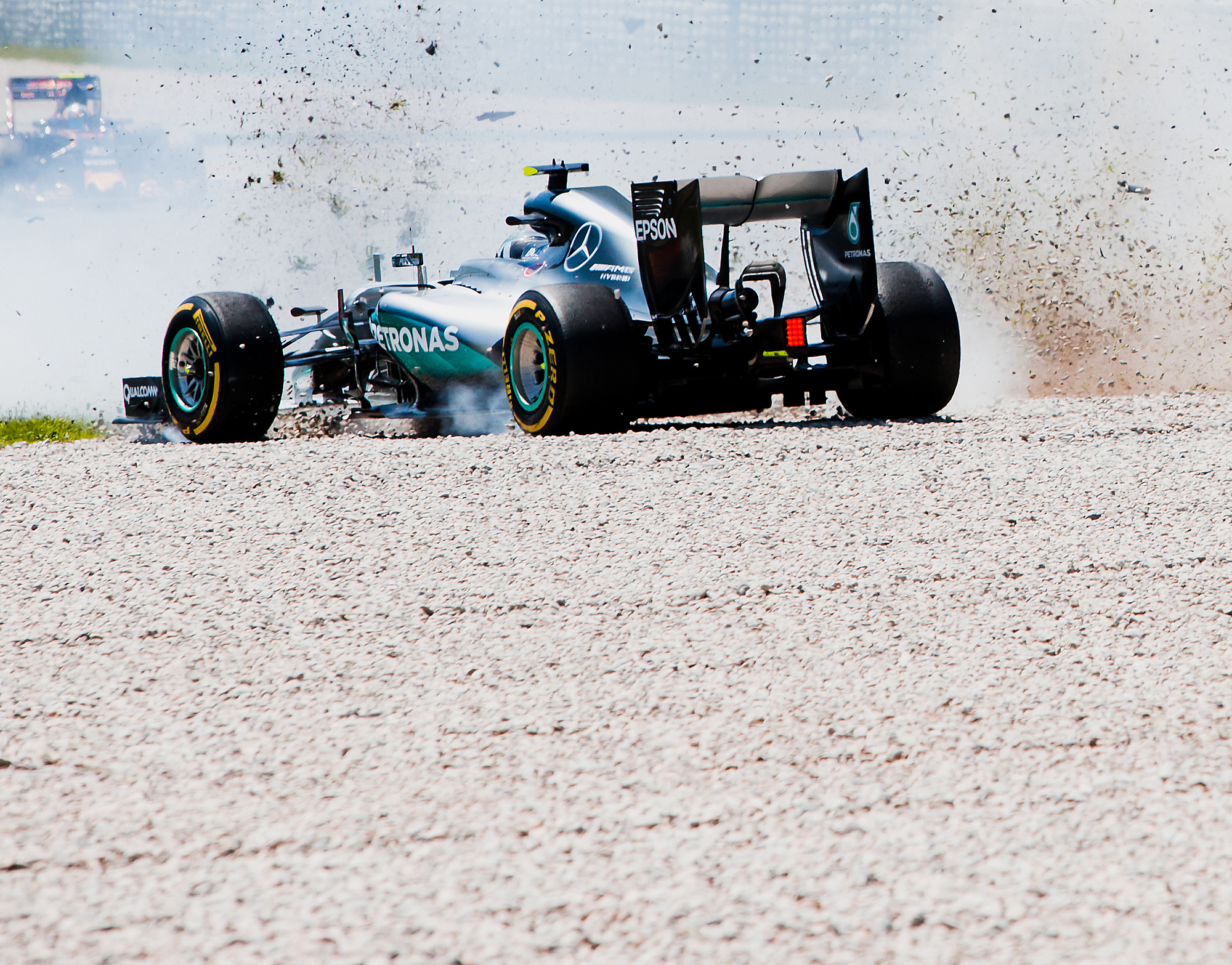 1 of 2. Mercedes Crash. Nico Rosberg, Mercedes. 2016 FIA Formula 1 Championship, Barcelona, Spain.