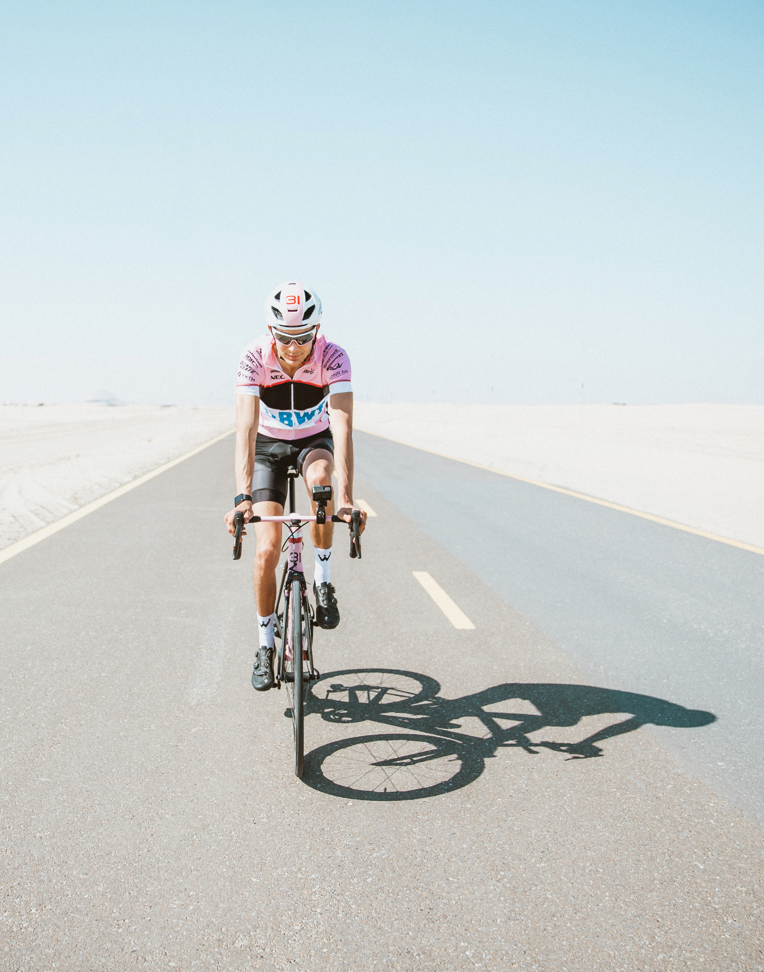 Esteban Ocon, Force India. F1 Racing Magazine Shoot with WyndyMilla cycling in Abu Dhabi, UAE.