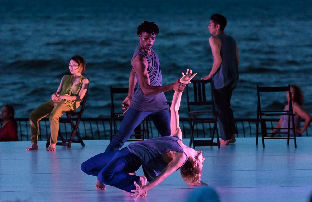 Working Title,  performed at  Battery Dance Festival  in 2016; Photo by Steven Pisano, featuring dancers Shiho Tanaka, Elijah Laurant, Alexandre Balmain, and Gen Hashimoto.