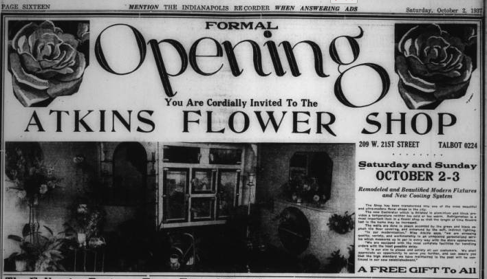 The photo is a grand re-opening ad for Delphinium Garden Club member, Dora Atkins' family flower shop. Dora managed the shop from 1923 - 1977.