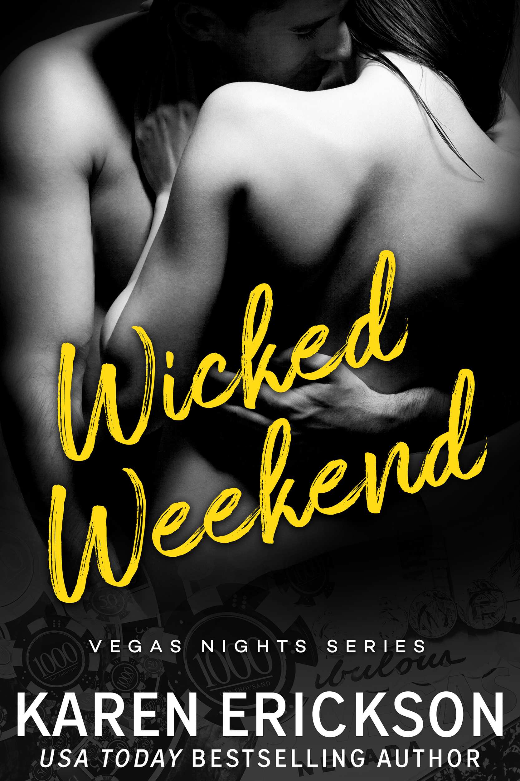 "Wicked Weekend - Vegas Nights, Book 0.5AMAZON • B&N • IBOOKS • KOBO • GOOGLEPLAYWhat happens in Vegas…It was supposed to be the ultimate girl's weekend. Days of tanning and gambling followed by nights of dancing and parties. After surviving nursing school, Reagan and her two besties are living for this Vegas trip.They've barely stepped foot into Sin City when a man approaches them with a shocking offer—be the eye candy at his boss's private party.It's an easy ""no"" until Reagan discovers the identity of the mysterious boss.Declan Carter has been her #1 Hollywood crush for as long as she can remember. And this is an opportunity too good to pass up. Tonight is Reagan's chance to make her wildest fantasies come to life.Deal her in."