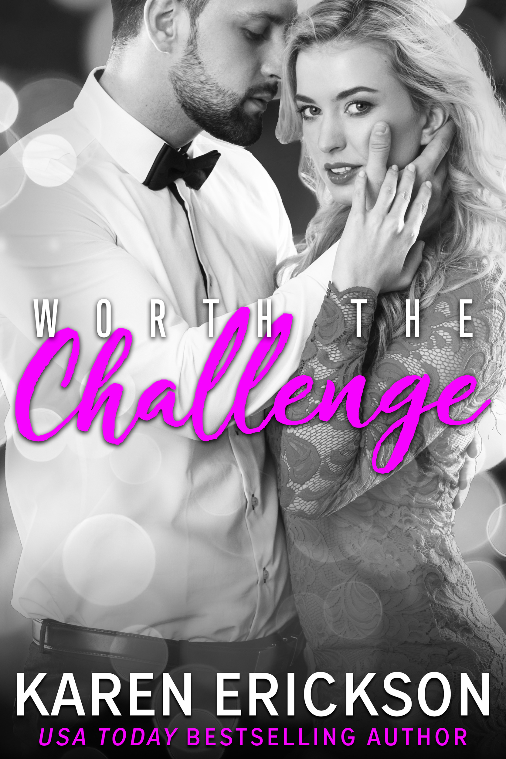 Worth The Challenge - Worth It, Book 3Amazon •B&N •iBooks •Kobo •GooglePlayCan you capture magic in a bottle?Rhett Worth has never lived up to his potential. He's ready to prove to his older brothers that he's more than his good looks; that he adds value to the family business beyond his panty-dropping smile. Except that the one job he was given, developing and delivering Worth Luxury's signature scent, has wafted away along with the perfumer.Gabriella Durand enters the boardroom prepared to beg the Worths to give her father a second chance at creating the blend he was tasked with. Instead, she finds the devastatingly handsome Rhett presenting her as the second chance. Hungry to step out of her family's shadow, she plays along.Soon, the two find themselves in Maui, hunting for the perfect scent. Despite his vow of professionalism, Rhett can't fight the passion between him and Gabriella.The tropical breeze that washes across their intertwined bodies offers salvation, but a whiff of betrayal threatens to destroy everything.Amazon •B&N •iBooks •Kobo •GooglePlay