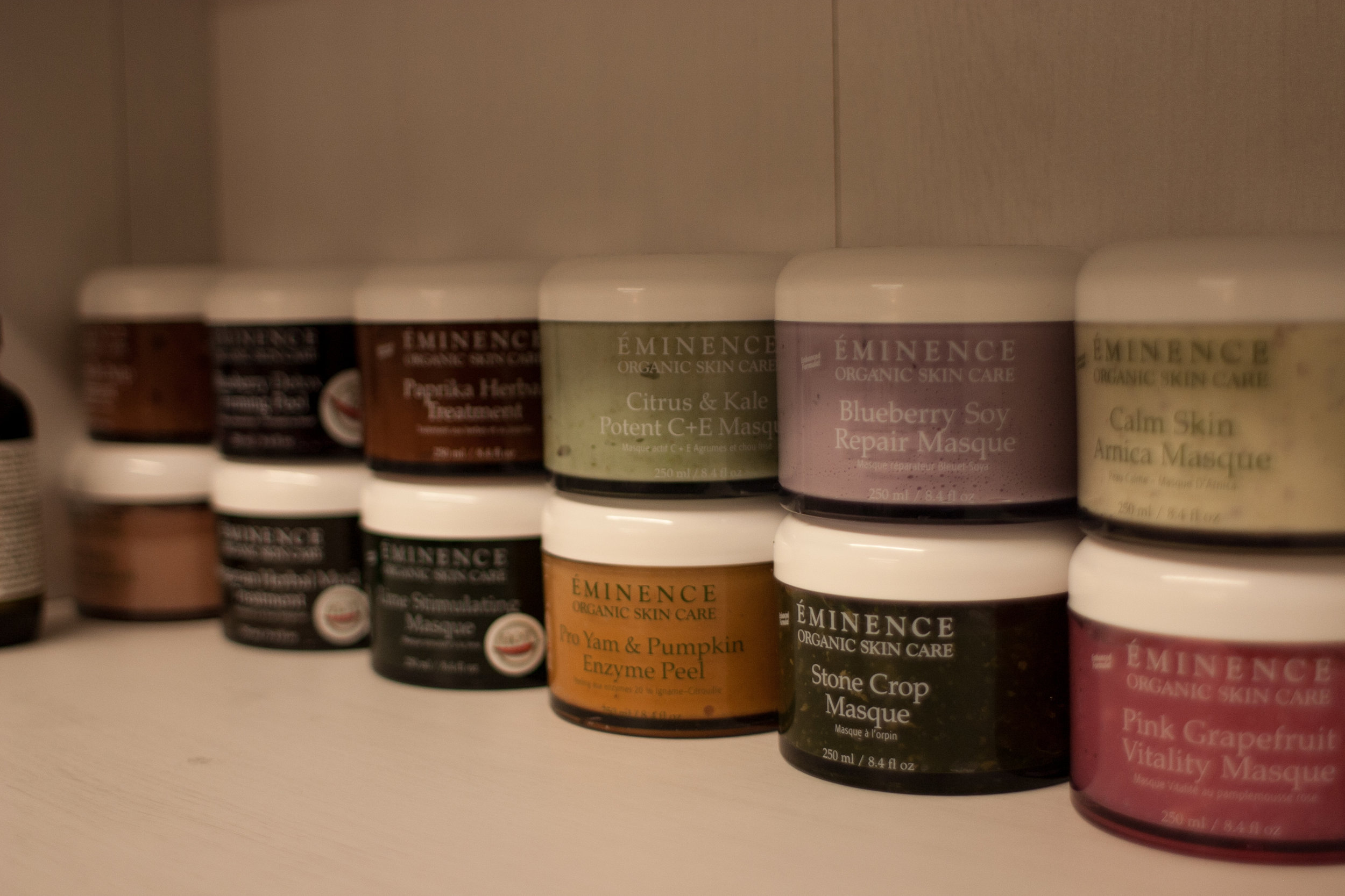 A few of the many masque treatments we carry for all skin types
