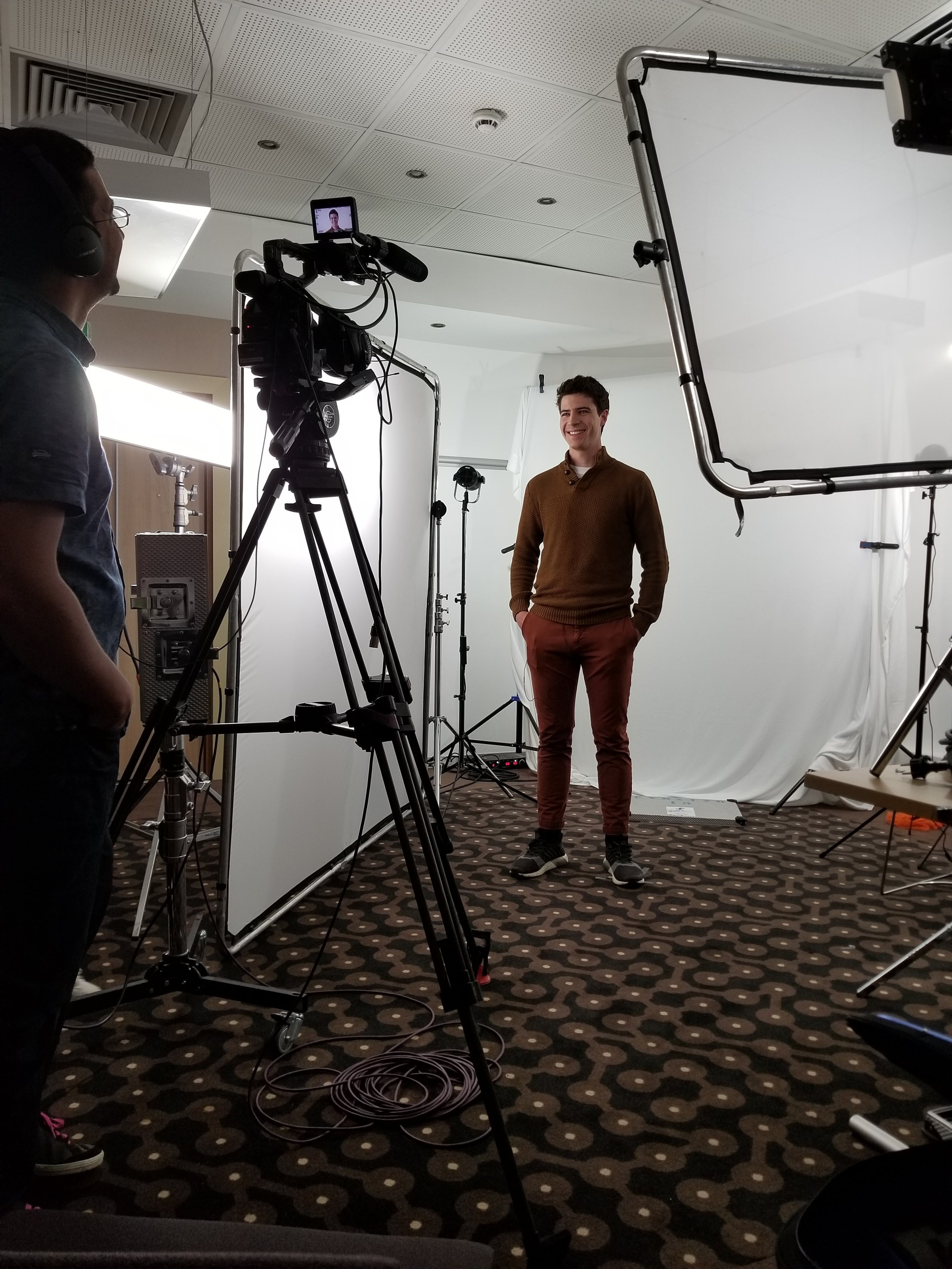 Perry halfway through the video interview.