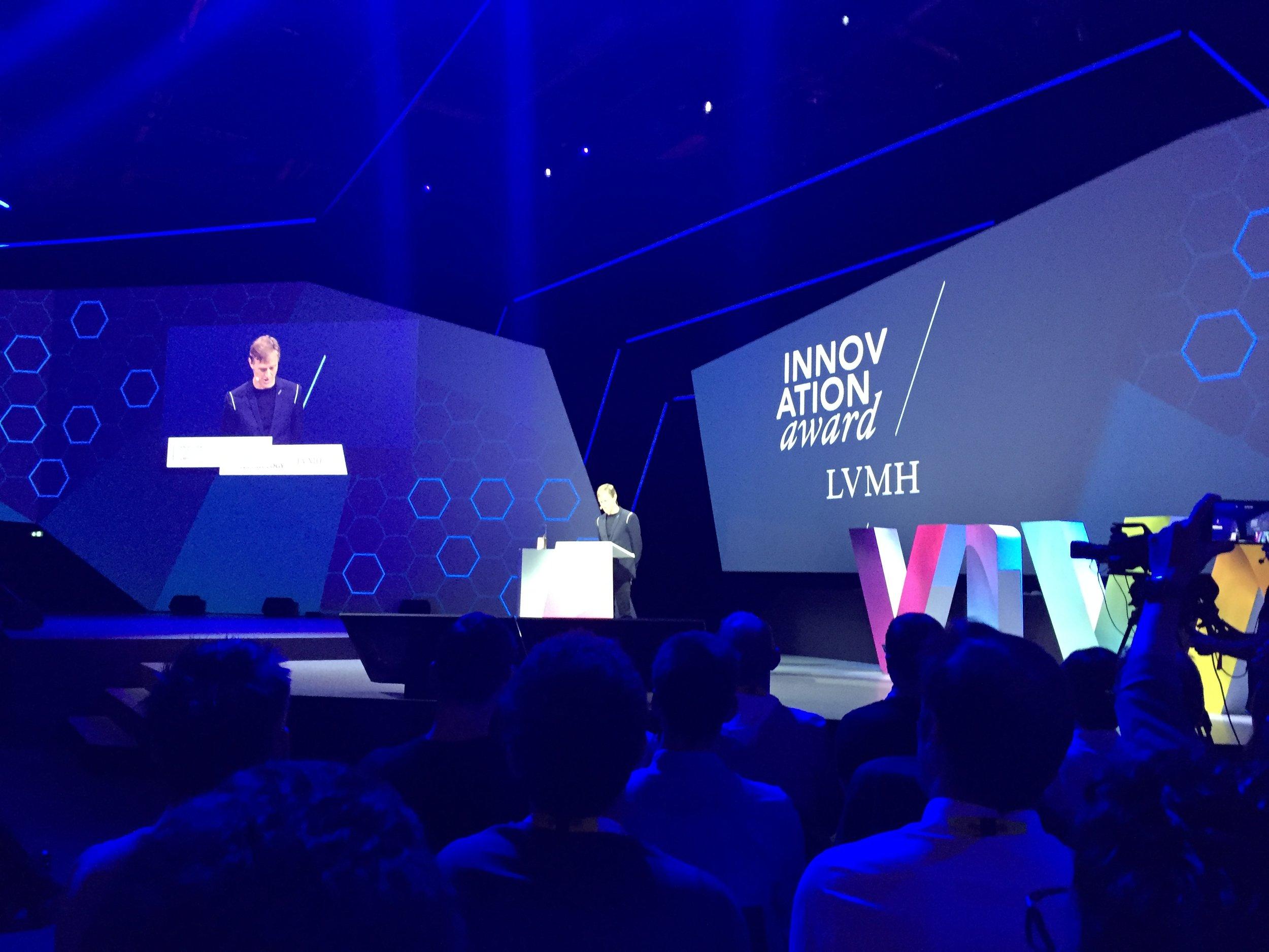 LVMH Group CDO Ian Rogers on stage to announce winners of the 2018 LVMH Innovation Award