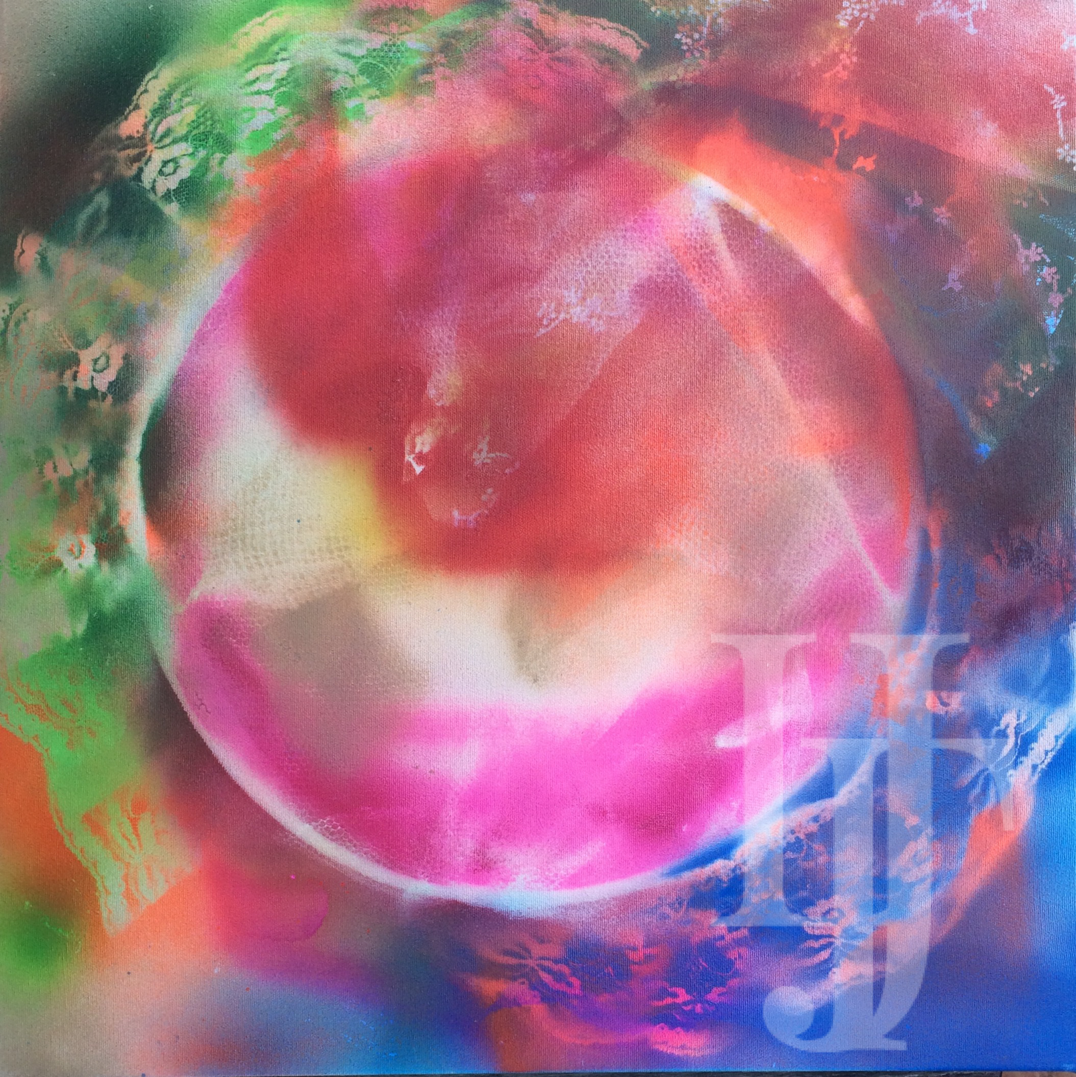 "Ring of Light.  20""x20"". Neon spray paint on canvas. UV Reactive."