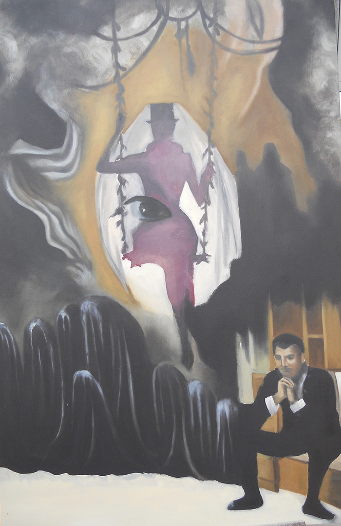 """Juliet and the Spirits.  24""""x36"""". Unfinished oil painting on canvas. 2011."""