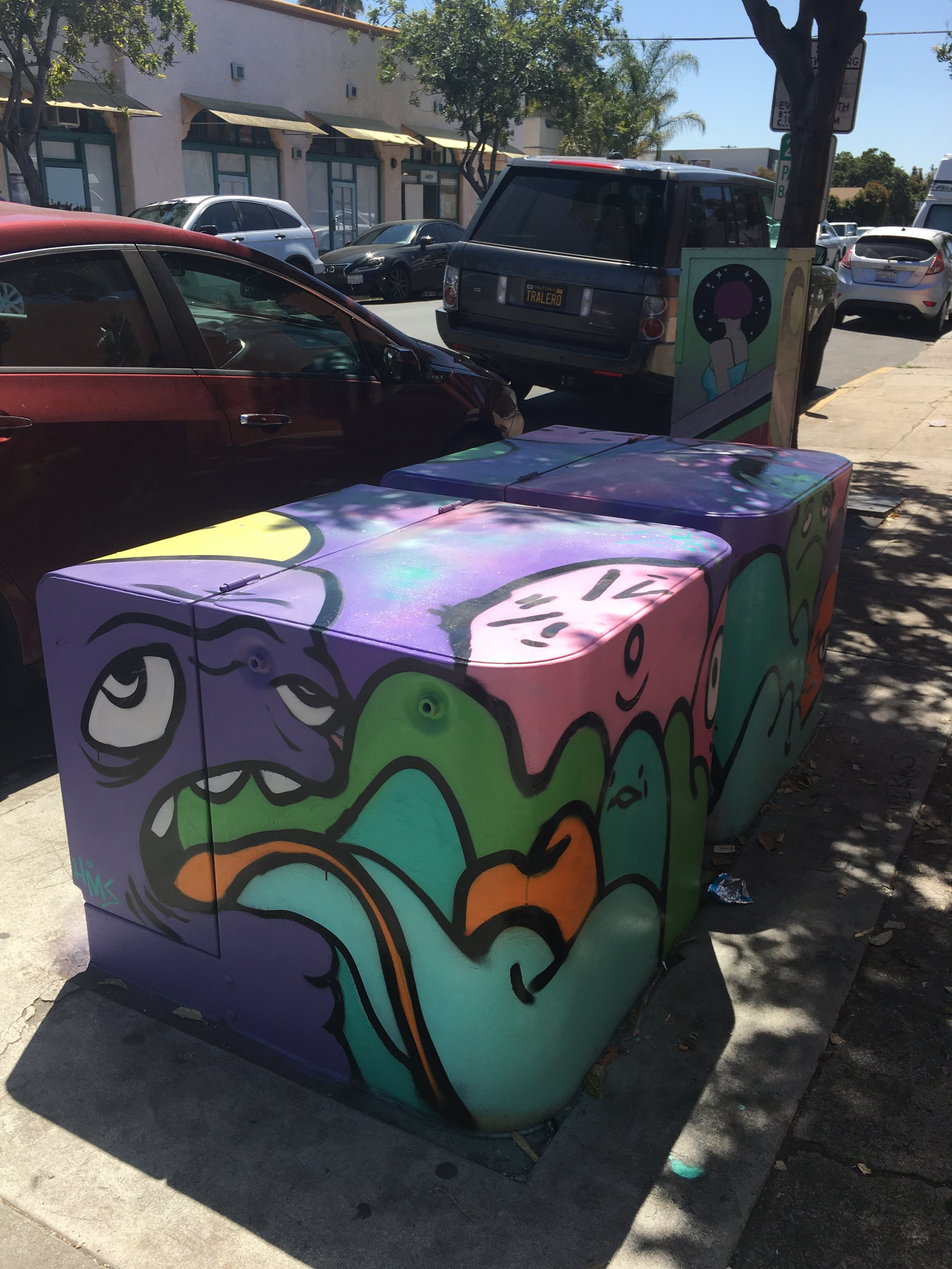 Top and side view of repainted boxes